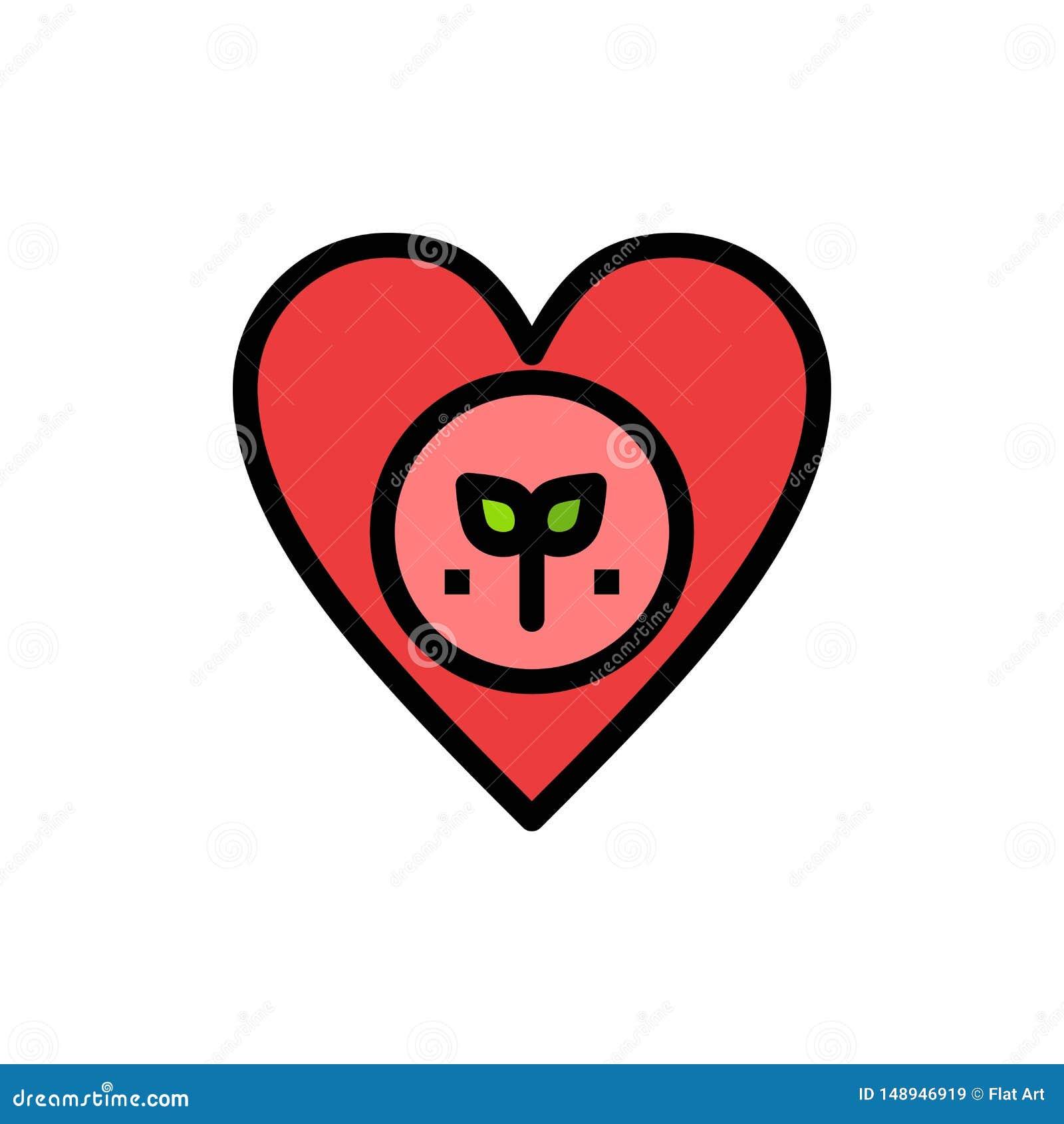 Ecologia, ambiente, favorito, coração, como o ícone liso da cor Molde da bandeira do ícone do vetor