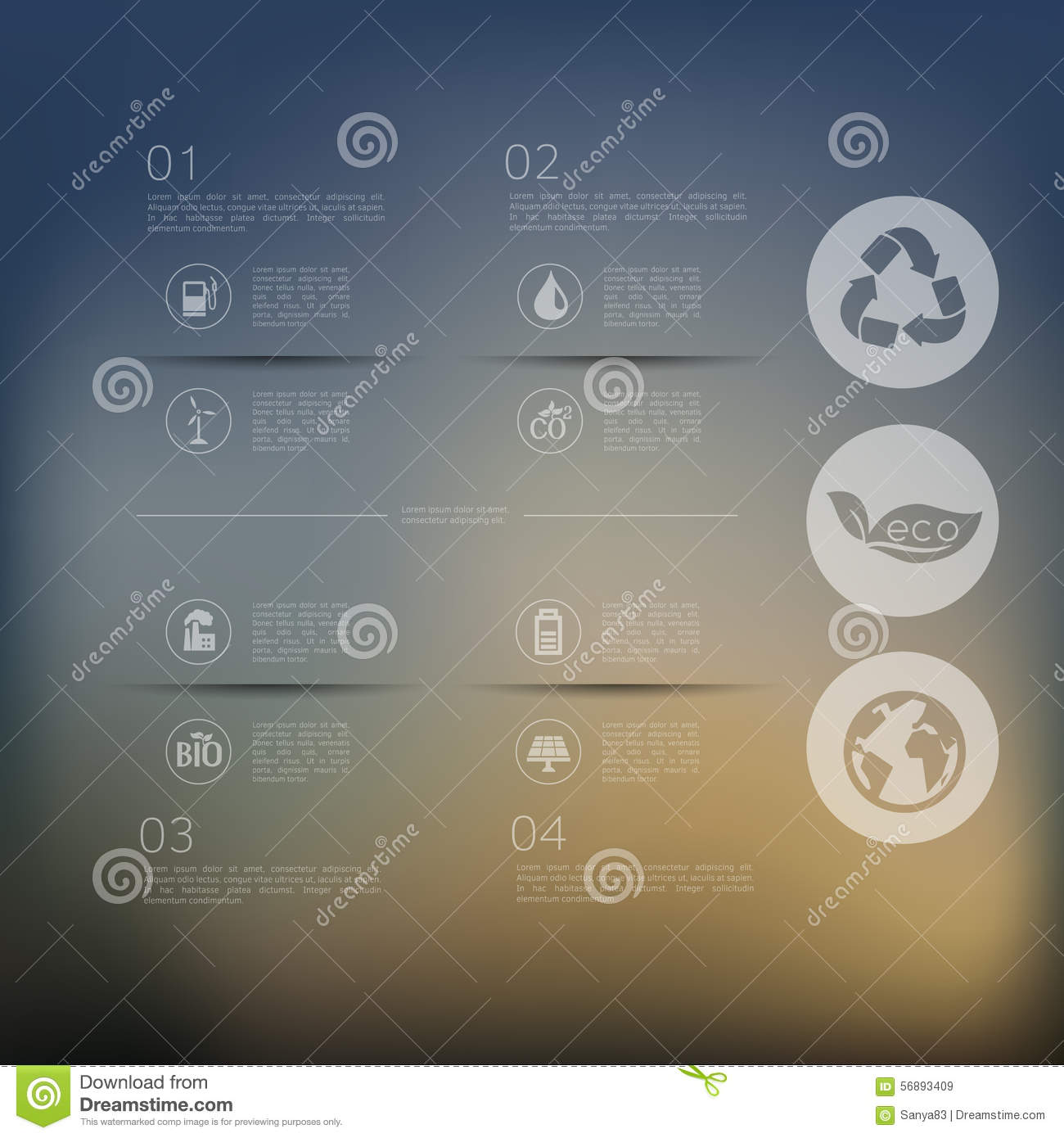 Ecologia infographic con fondo unfocused