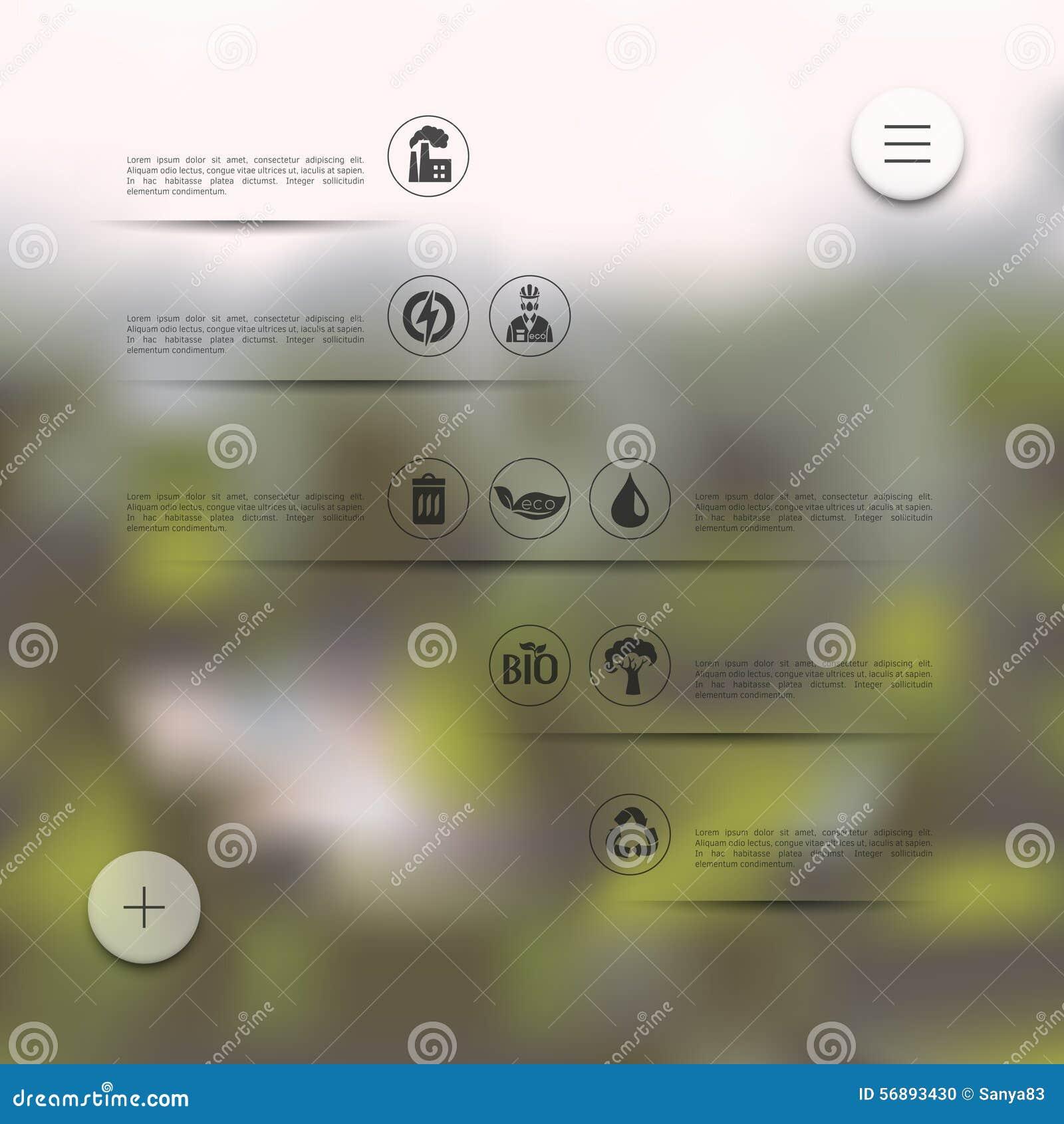 Ecologia infographic con fondo unfocused