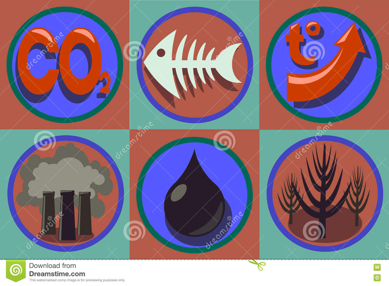 Ecological Problems Icon Set. World Pollution, Global Warming ...