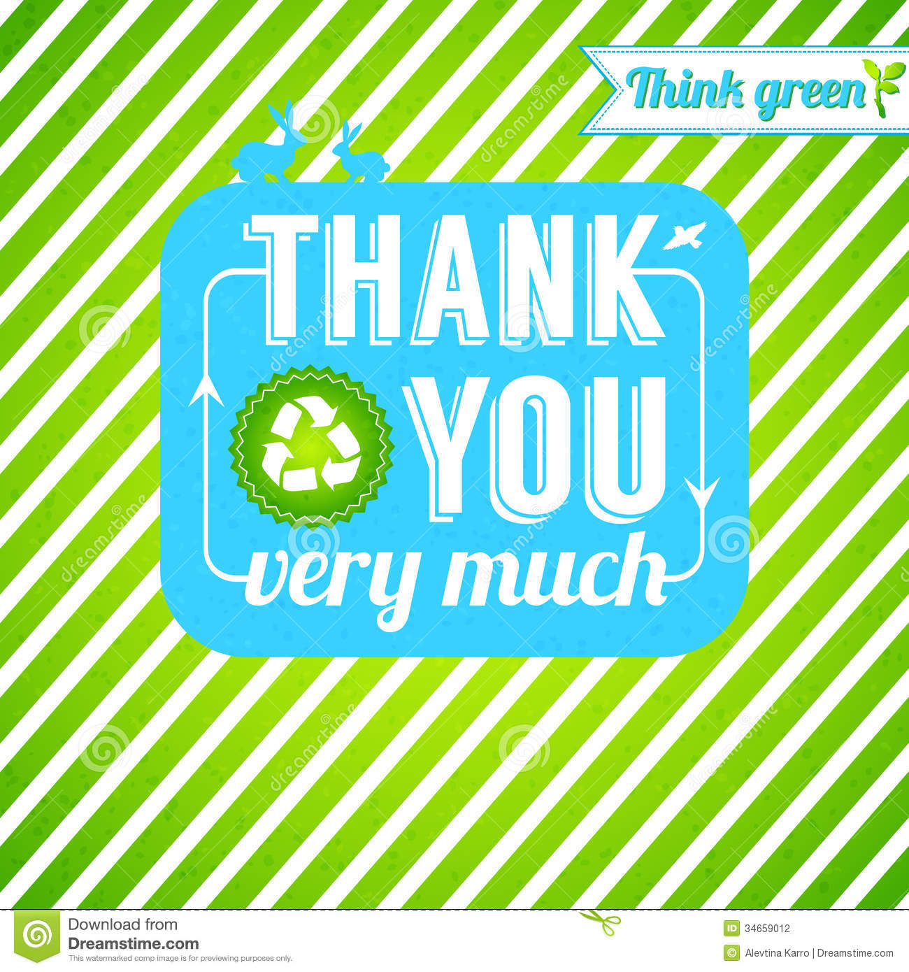 ecological thank you card  gratitude for thinking stock