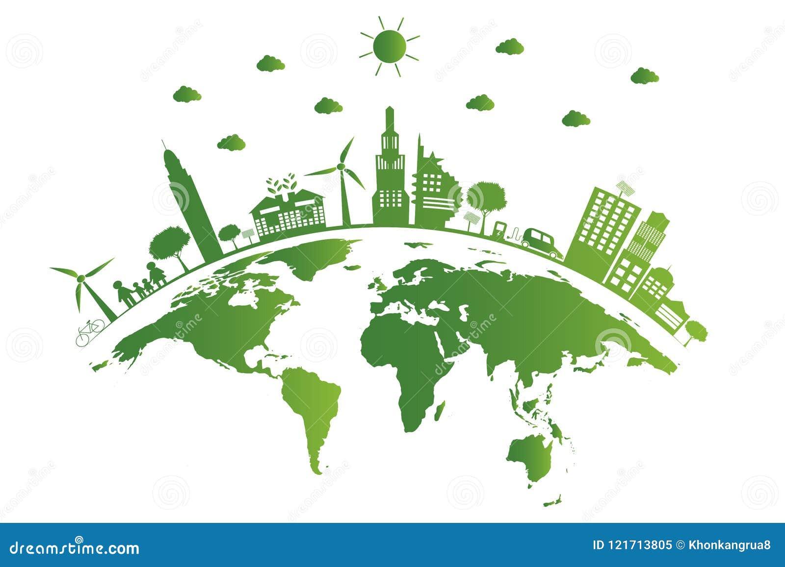 Ecologie De groene steden helpen de wereld, aarde met milieuvriendelijke conceptenideeën Vector illustratie