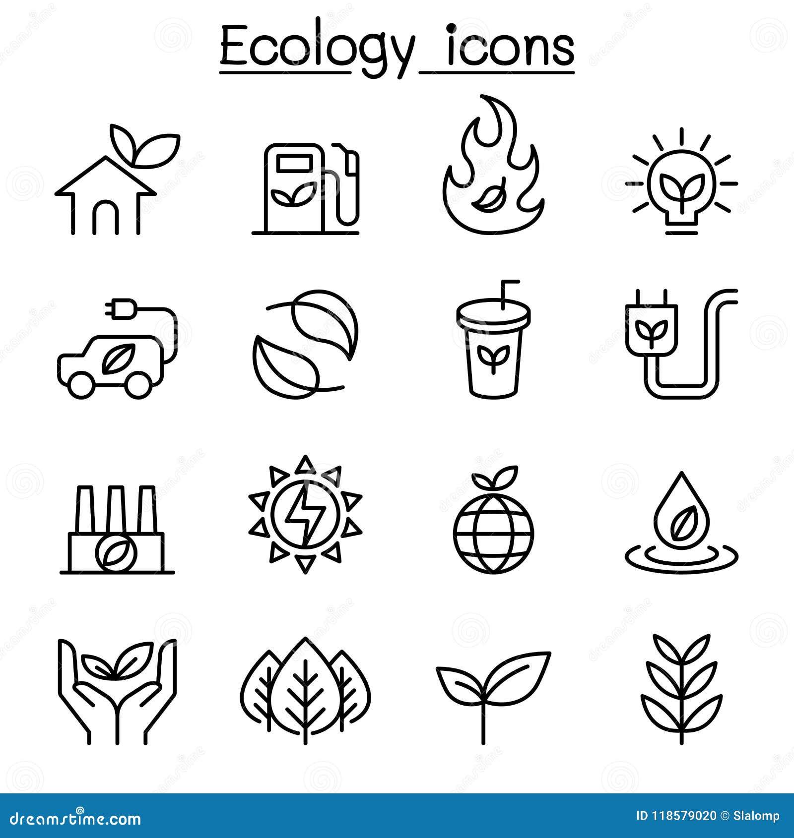 Ecologie & Duurzaam die levensstijlpictogram in dunne lijnstijl wordt geplaatst