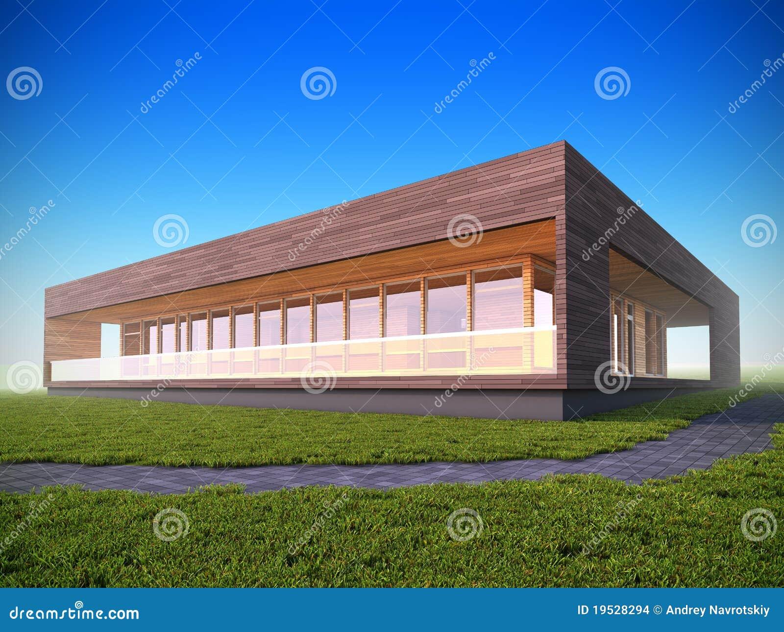 Ecologisch modern houten huis stock afbeeldingen afbeelding 19528294 for Hout huis