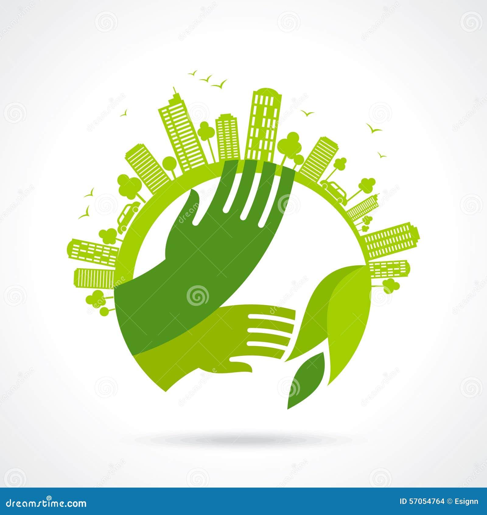 Ecologische symbolen en tekens, de handen van de mens en groene het groeien installaties