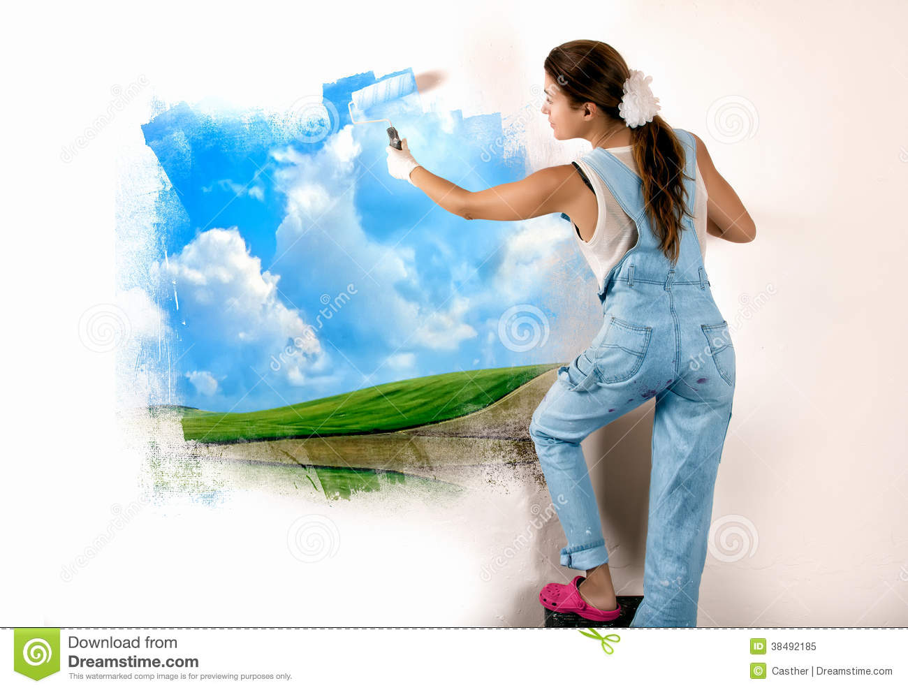 ecologist mural painting on wall royalty free stock photo image ecologist landscape mural nature painting roller wall