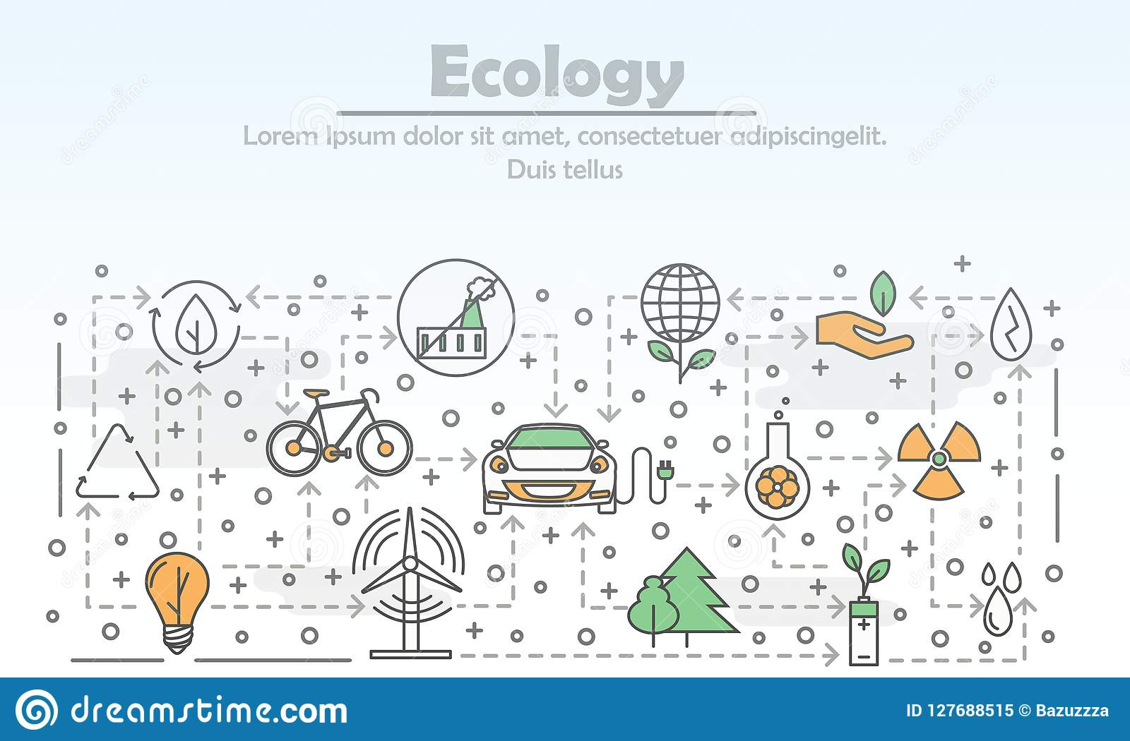 vector thin line art ecology poster banner template stock vector