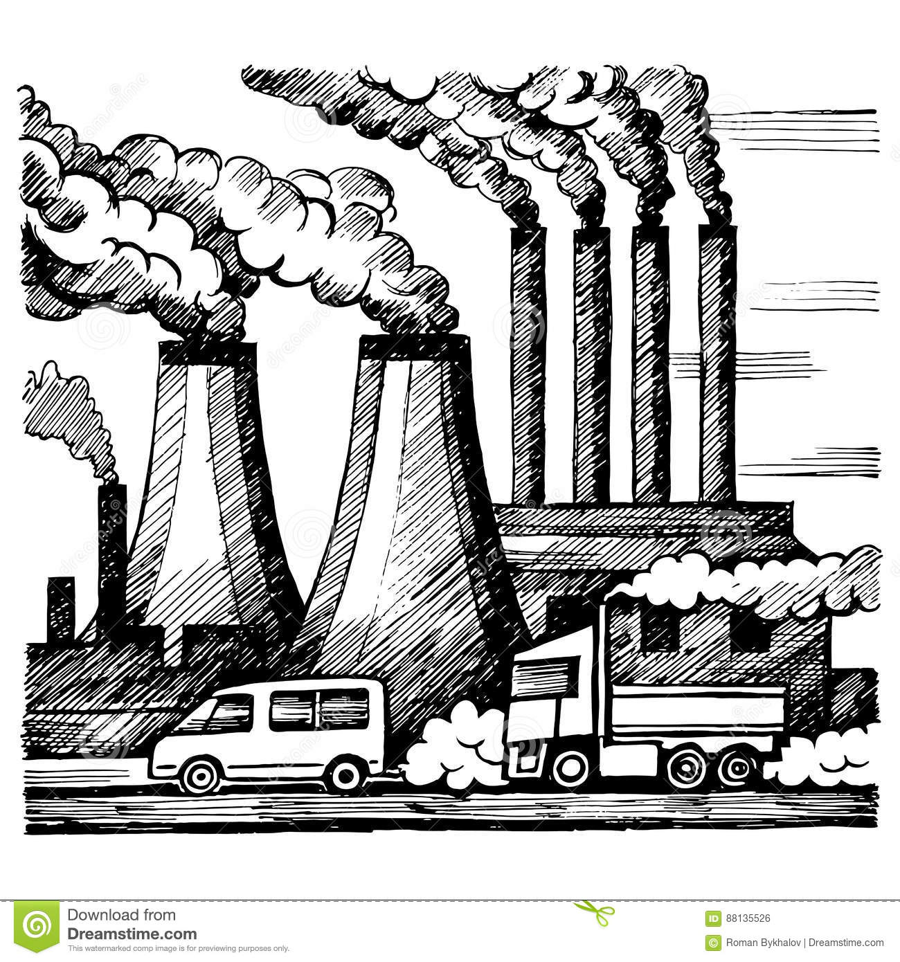 Ecology air and atmosphere pollution emission of harmful gases industry and cars vector sketch illustration doodle style