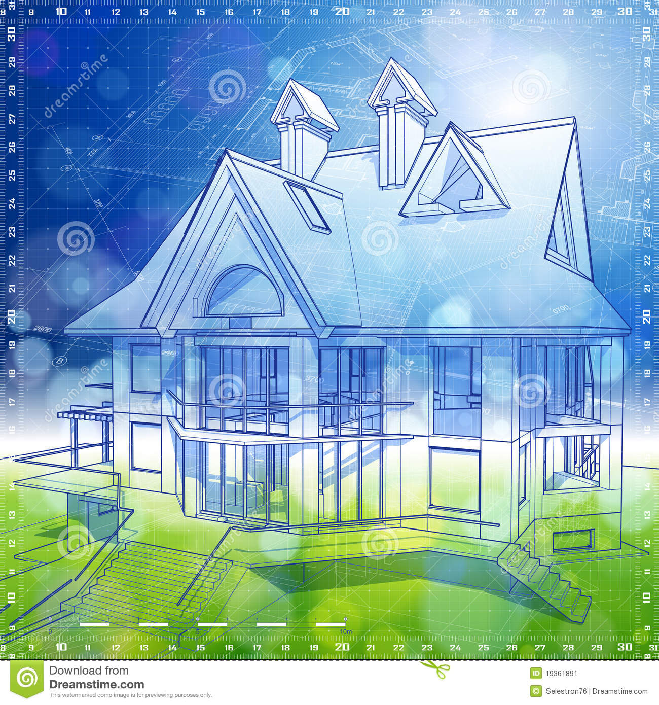 Architecture House And: Ecology Architecture Design: House, Plans Stock Image