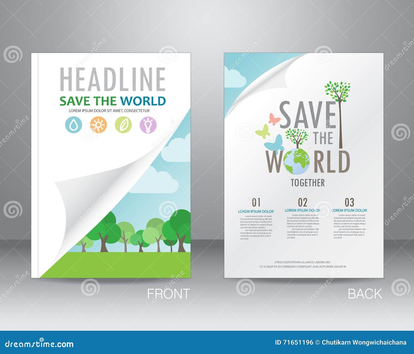 ecology brochure design template vector