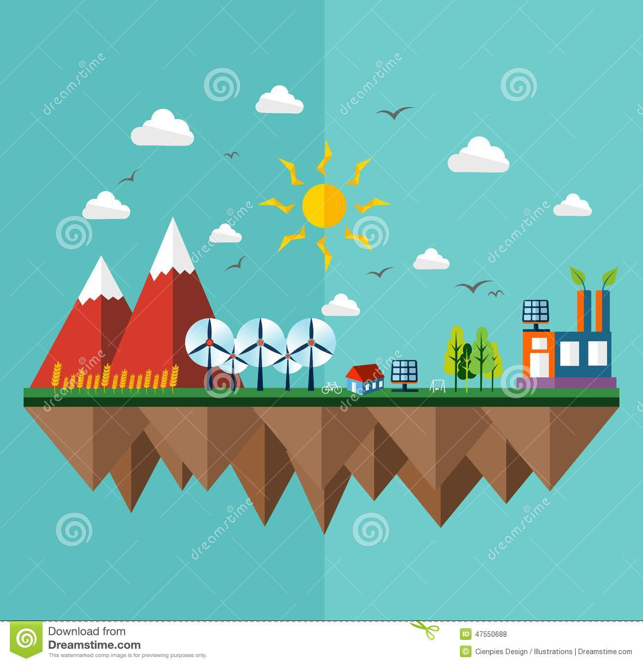 Book Cover Illustration Fee : Ecology city flat concept stock vector image of earth