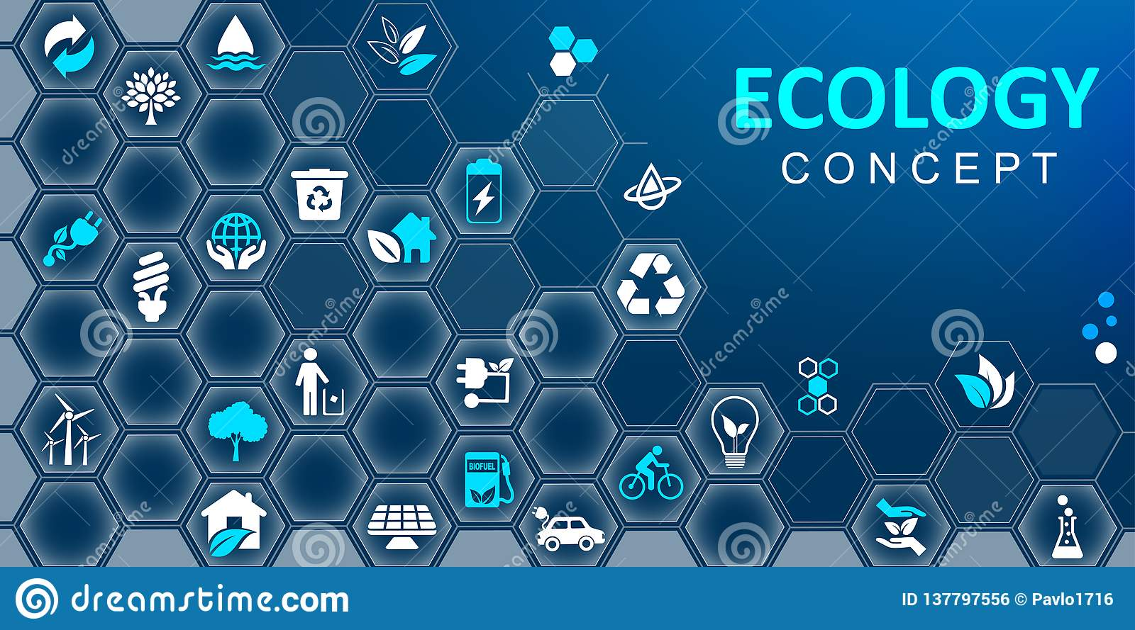 Ecology concept background. Set of ecology icons – vector