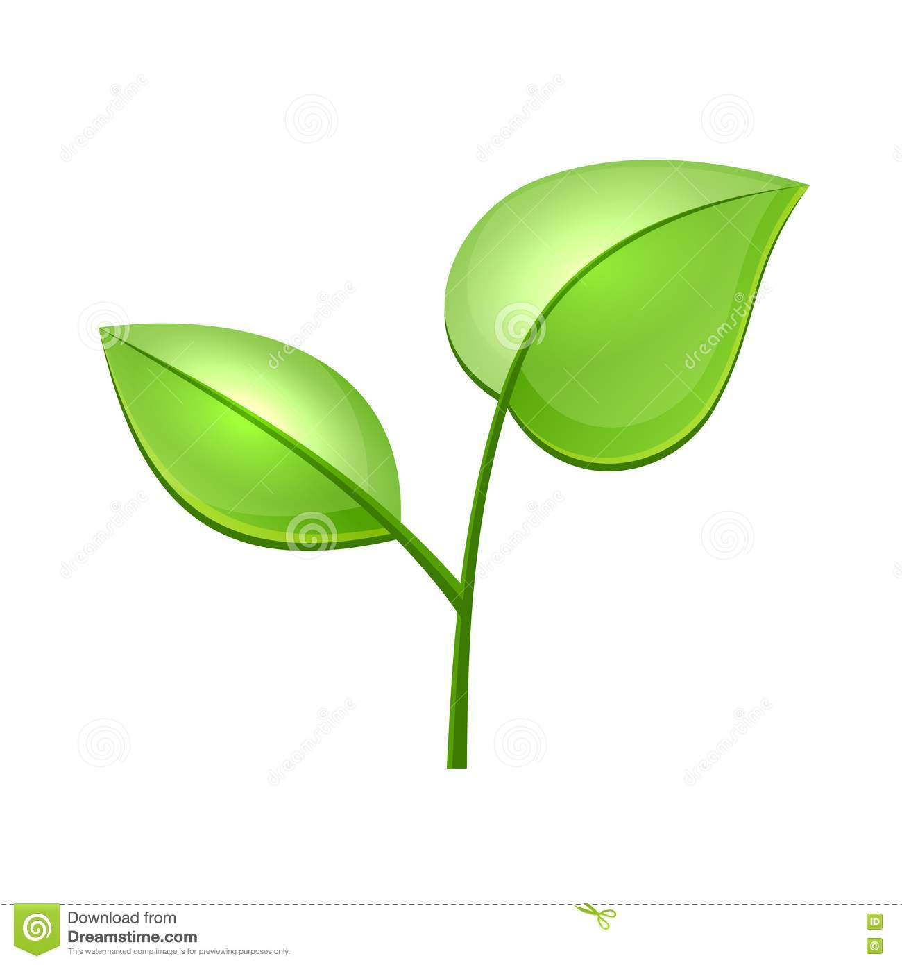 Single Green Leaf Vector Ecology concept icon with glossy green leaves ...