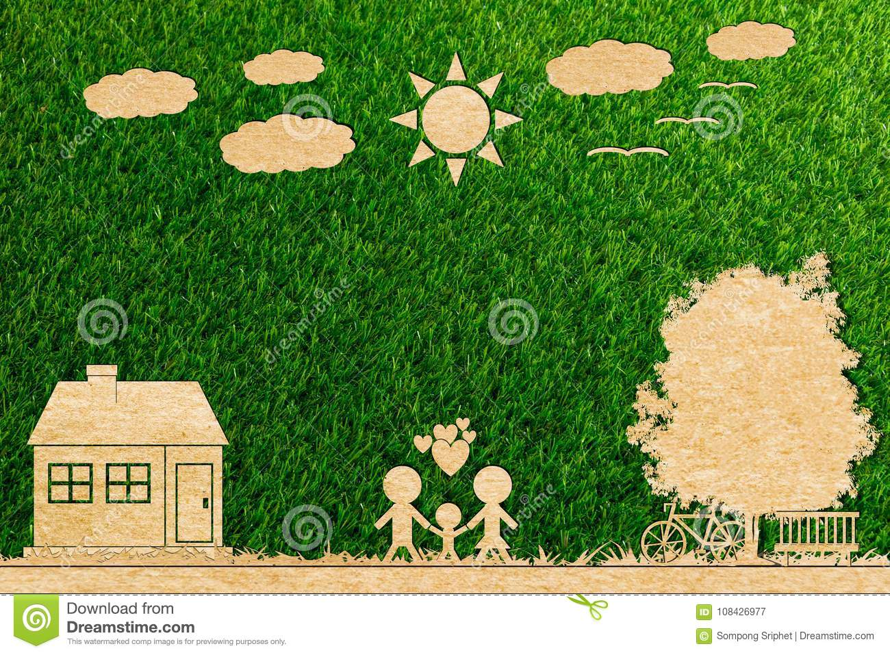 Ecology concept paper cut of family love home sun tree cloud