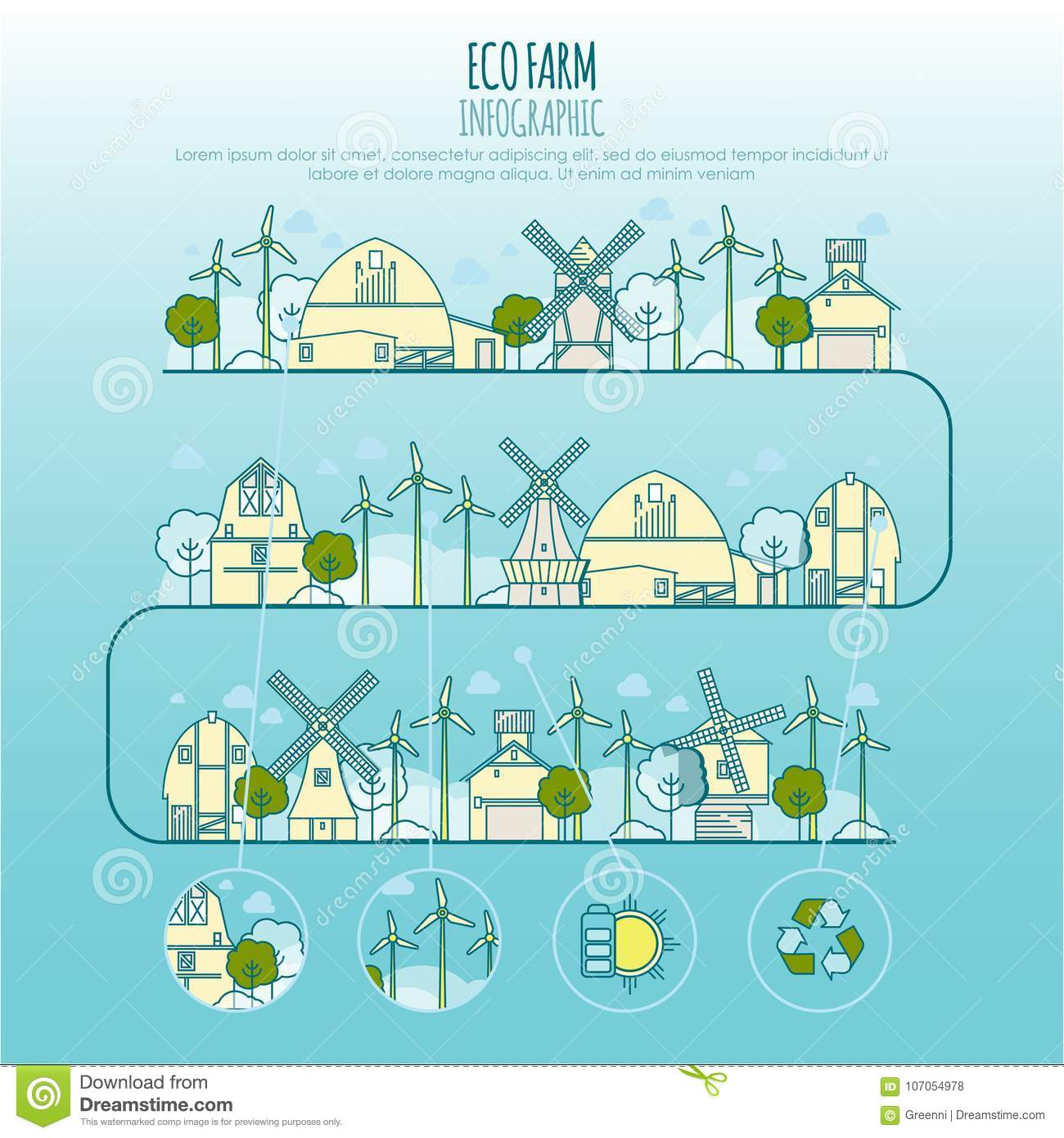 ecology farm infographic vector template with thin line icons of