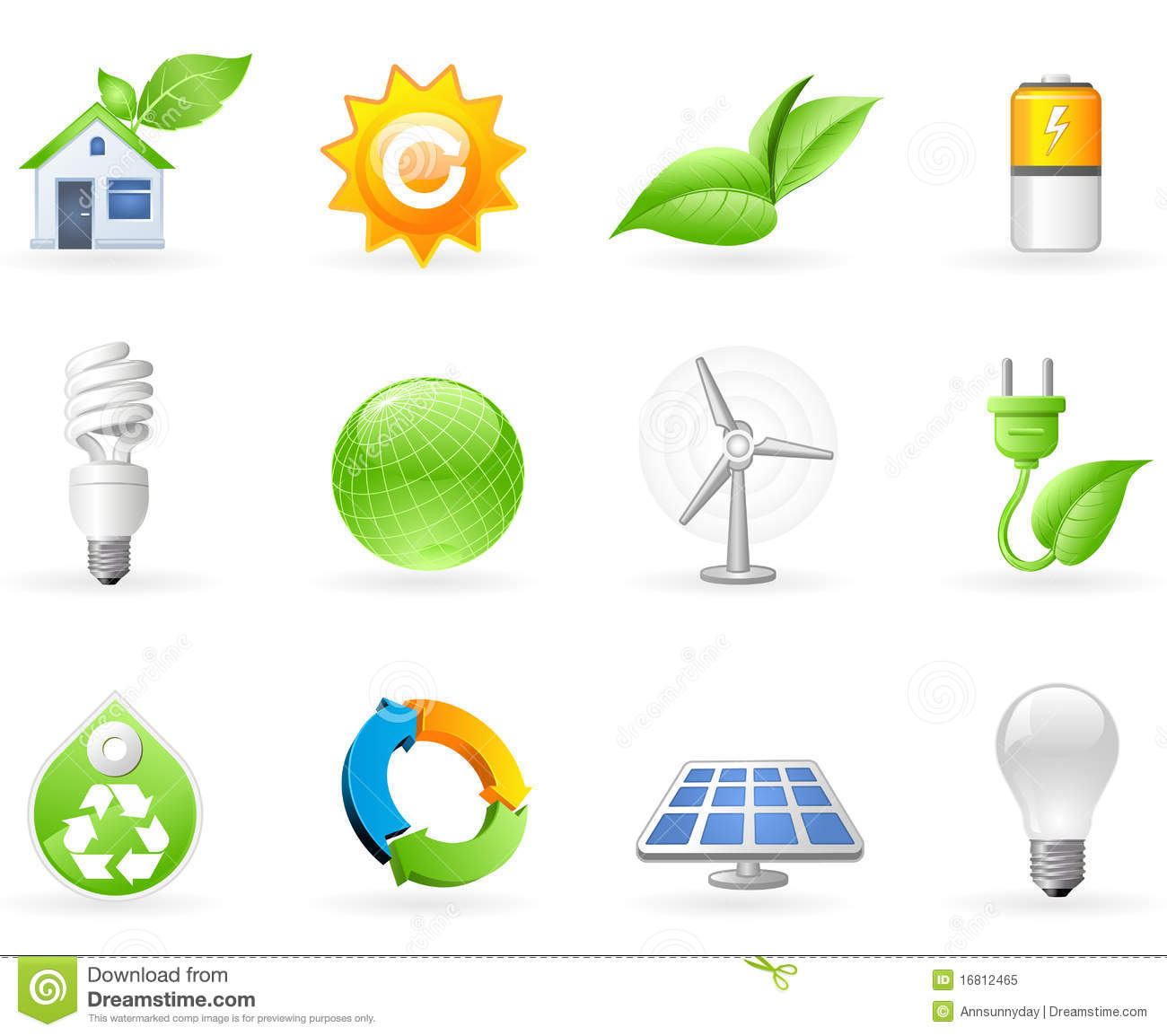 Ecology And Green Energy Icon Set Stock Vector
