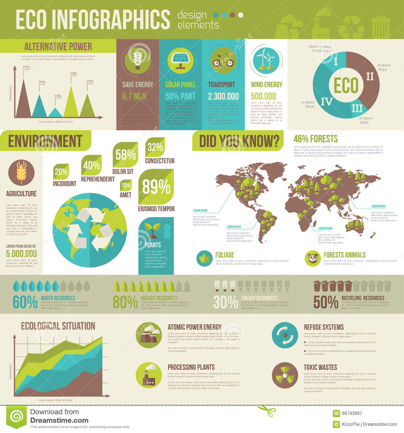 Ecology infographics environmental template stock vector image 66793997 for Environmental protection plan template