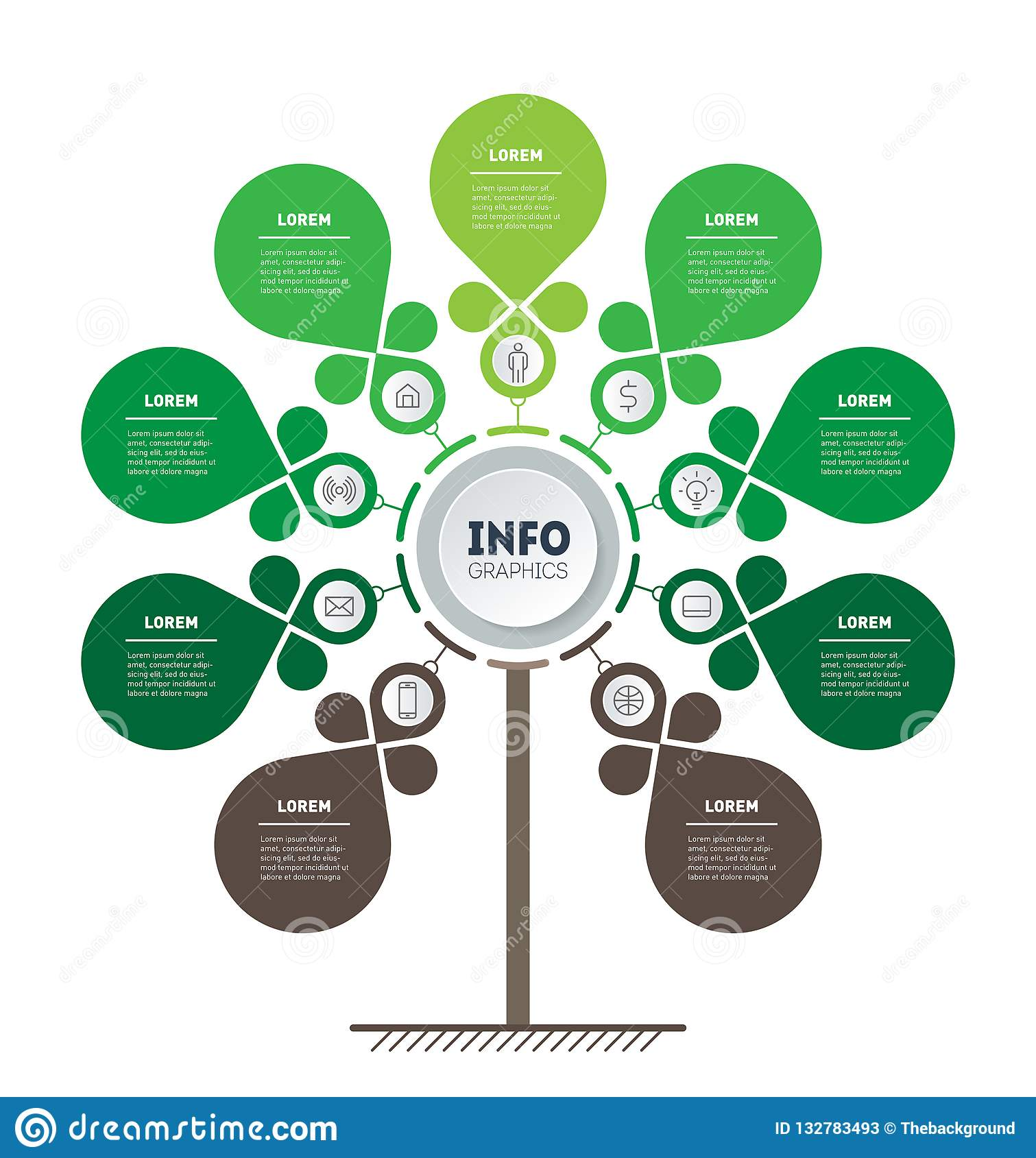 Ecology Infographics  Tree Of Development And Growth Of The Eco