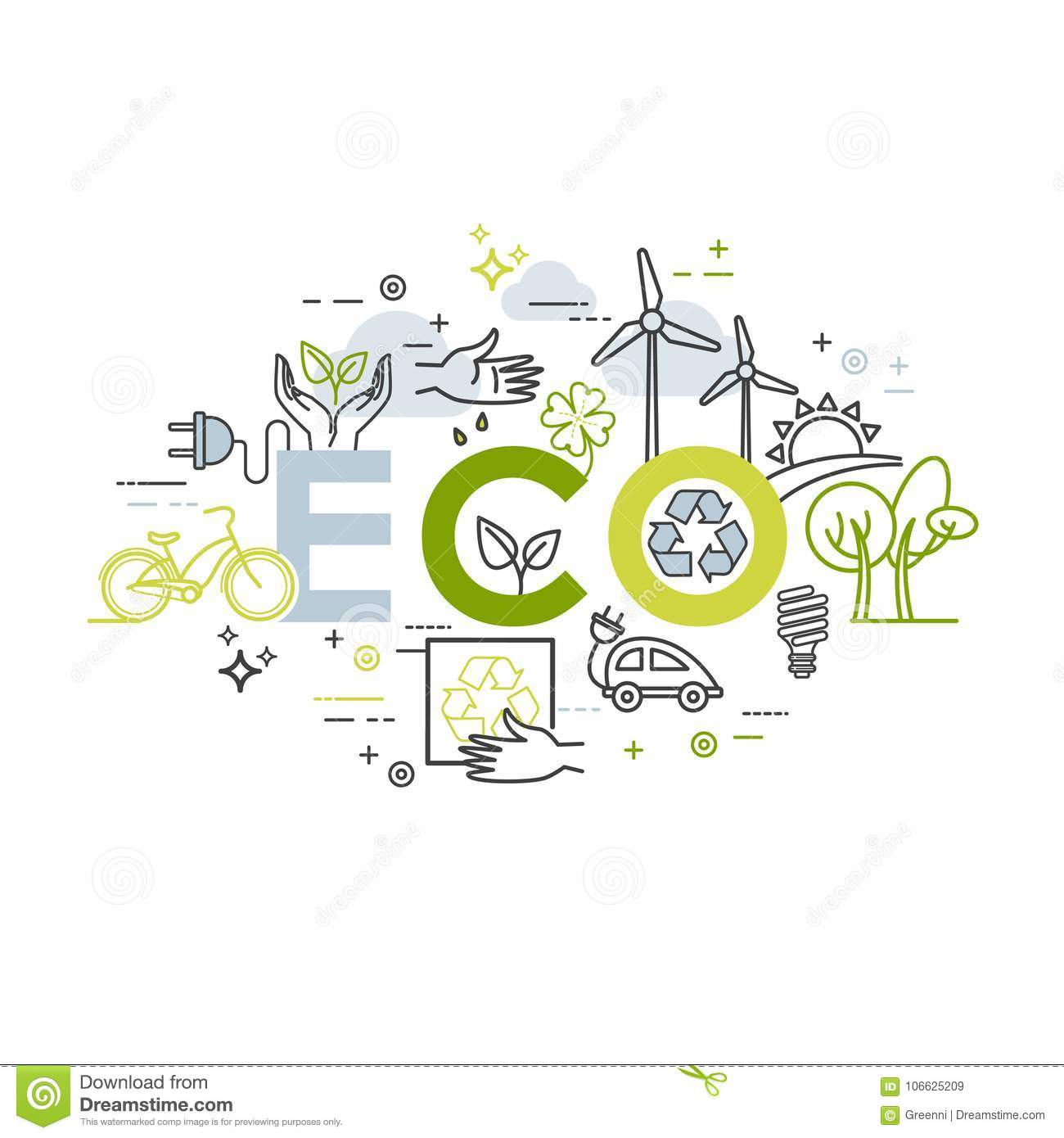 ecology lifestyle green energy recycle vector design template in
