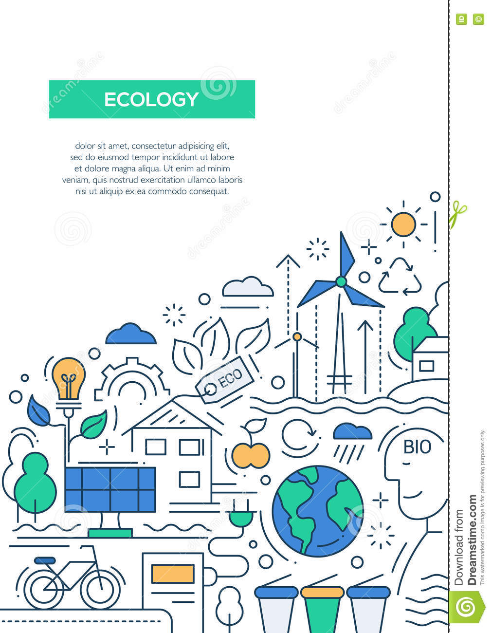 ecology line design brochure poster template a4 stock vector