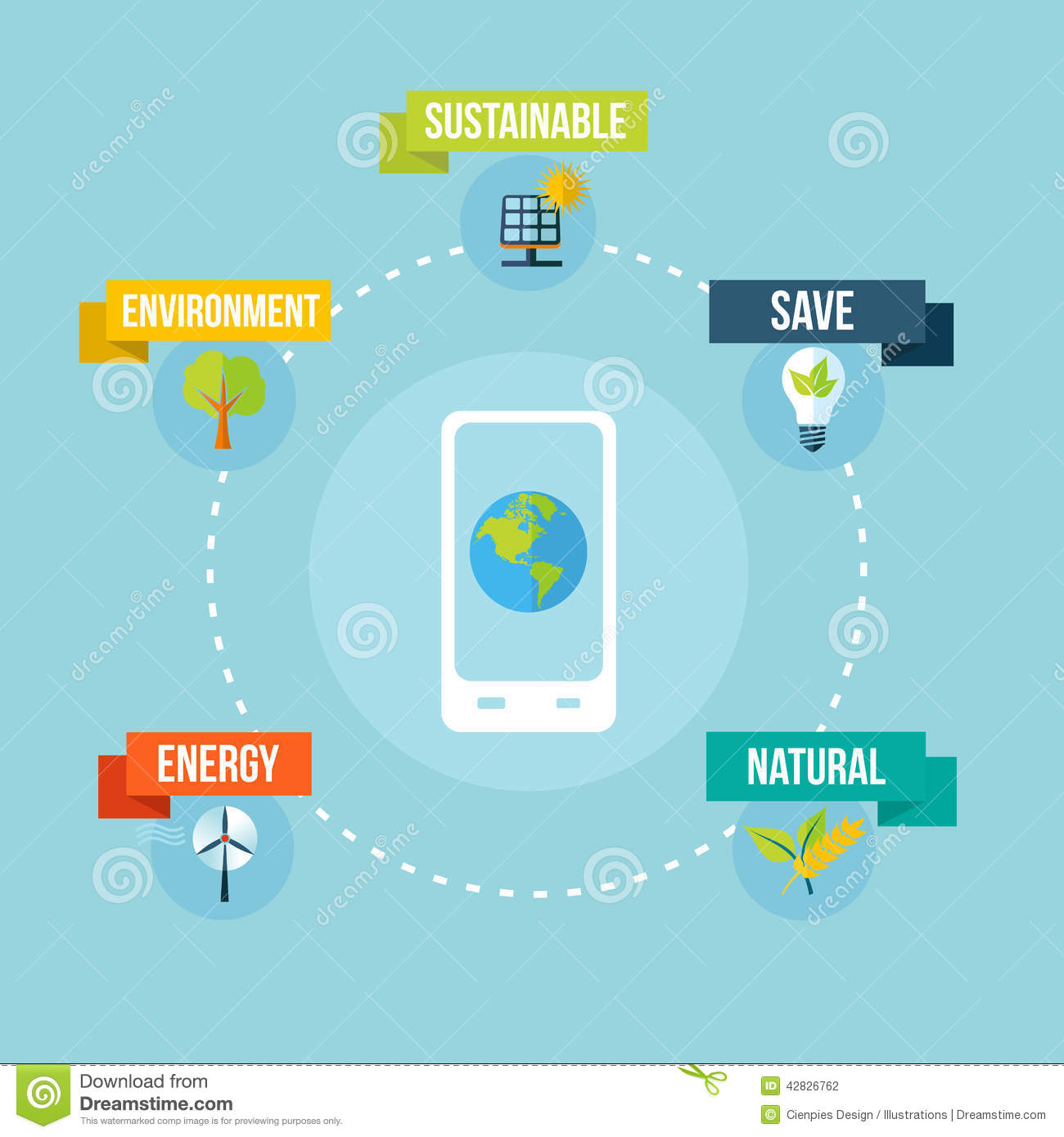 Mobile app technology and eco friendly concept illustration background ...