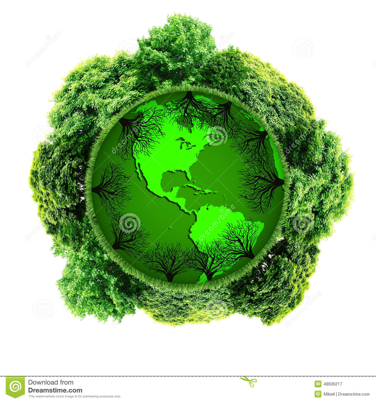 Ecology Planet With With Trees Around. Eco Earth Stock