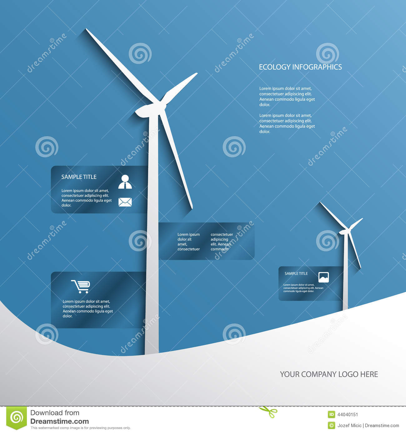 ecology poster or flyer with wind turbines on blue stock