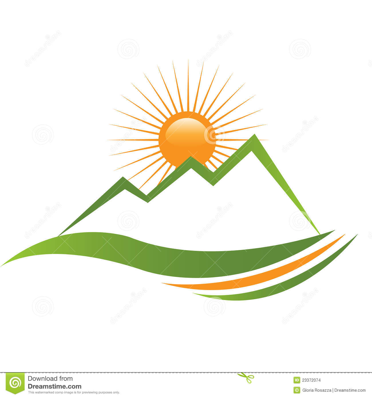 Ecologycal Sun And Mountain Logo Stock Images Image
