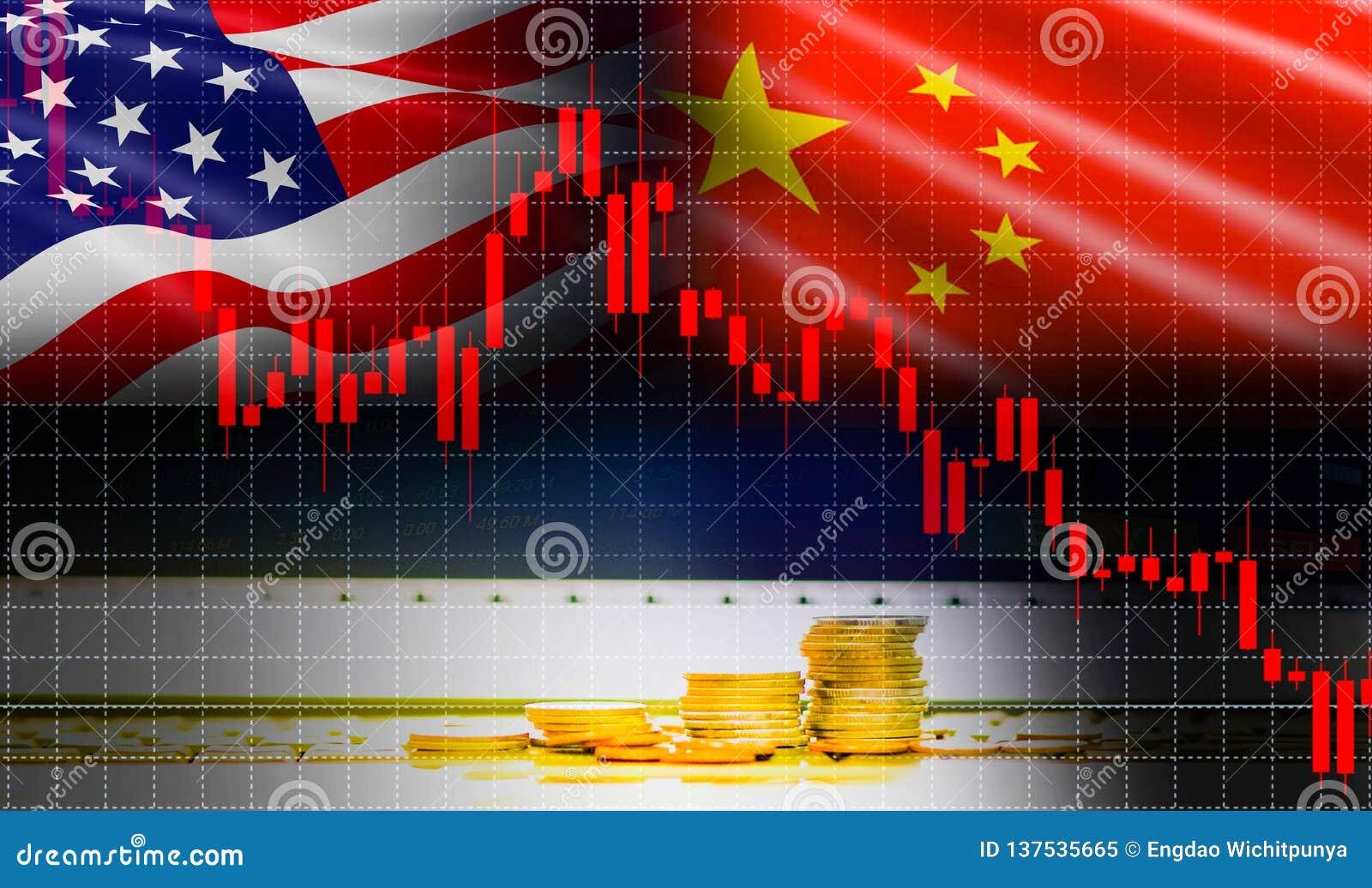 Economía los E.E.U.U. América de la guerra comercial y análisis del intercambio del mercado de acción del gráfico de la palmatori