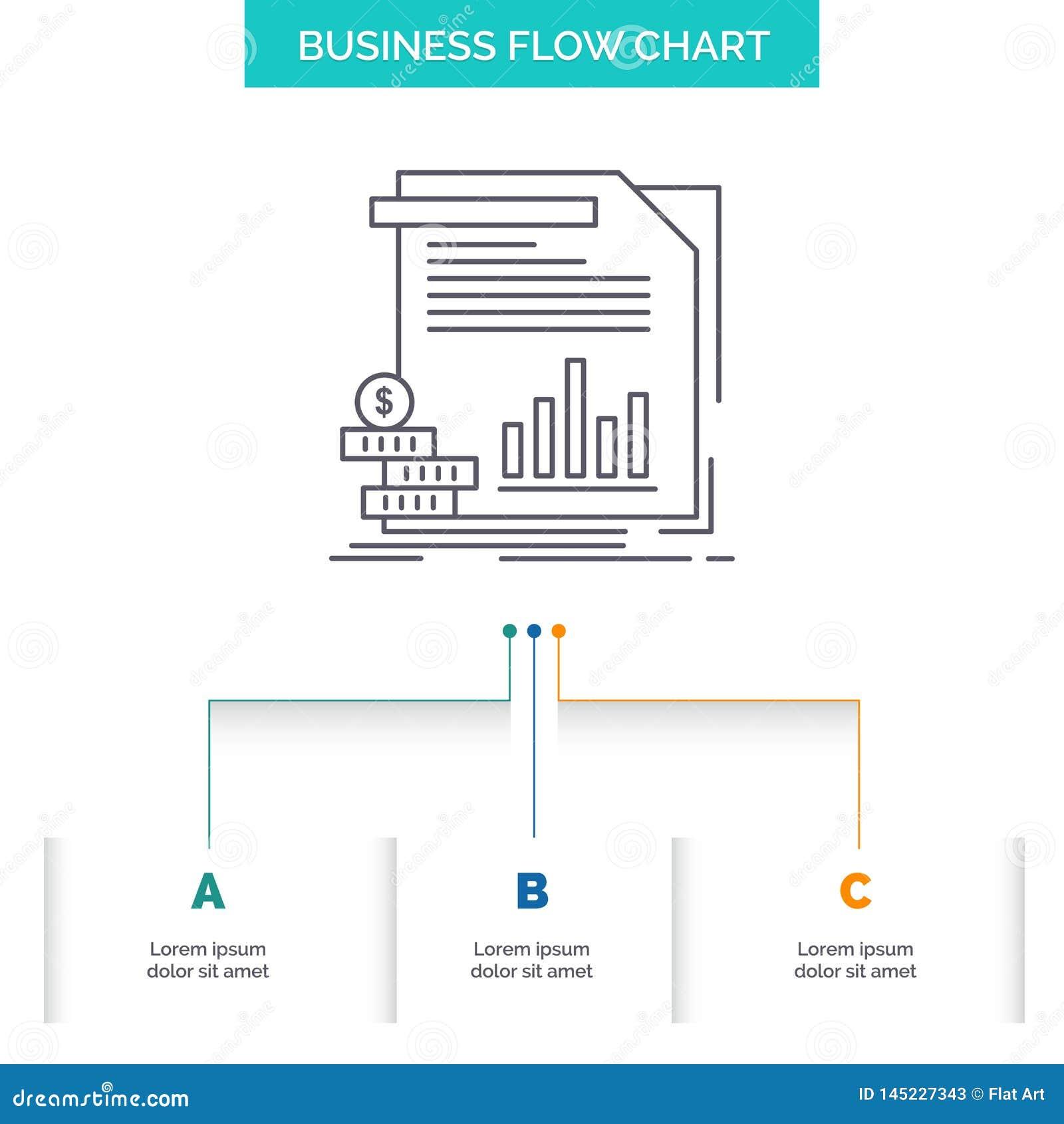 Economia, finança, dinheiro, informação, projeto do fluxograma do negócio dos relatórios com 3 etapas Linha ?cone para o fundo da