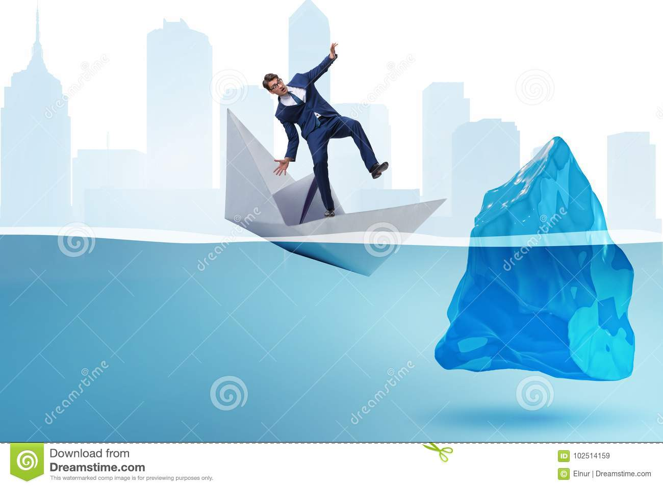 The economic crisis concept with businessman in sinking paper boat