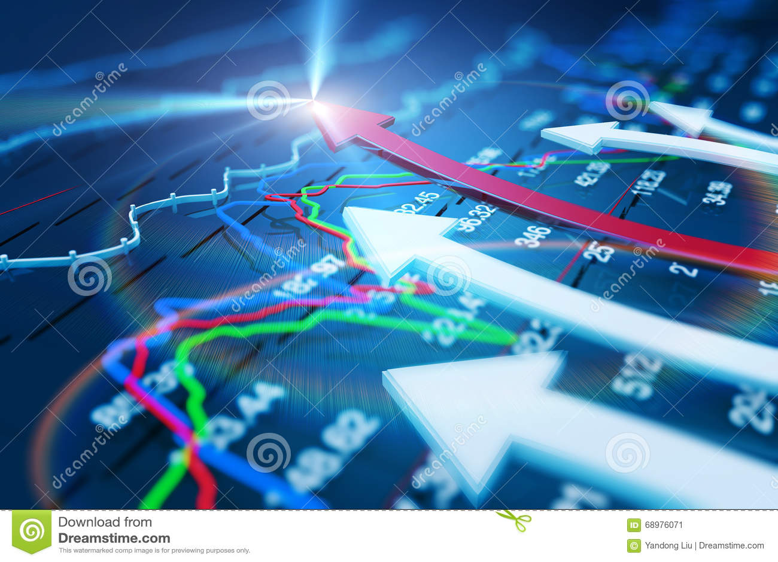 Economische indicatoren en beweging vooruit met de pijl