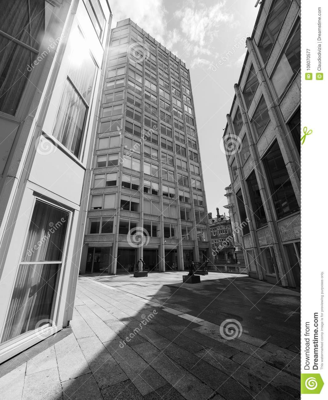 London uk circa june 2017 the economist building iconic new brutalist architecture designed by the smithsons in black and white