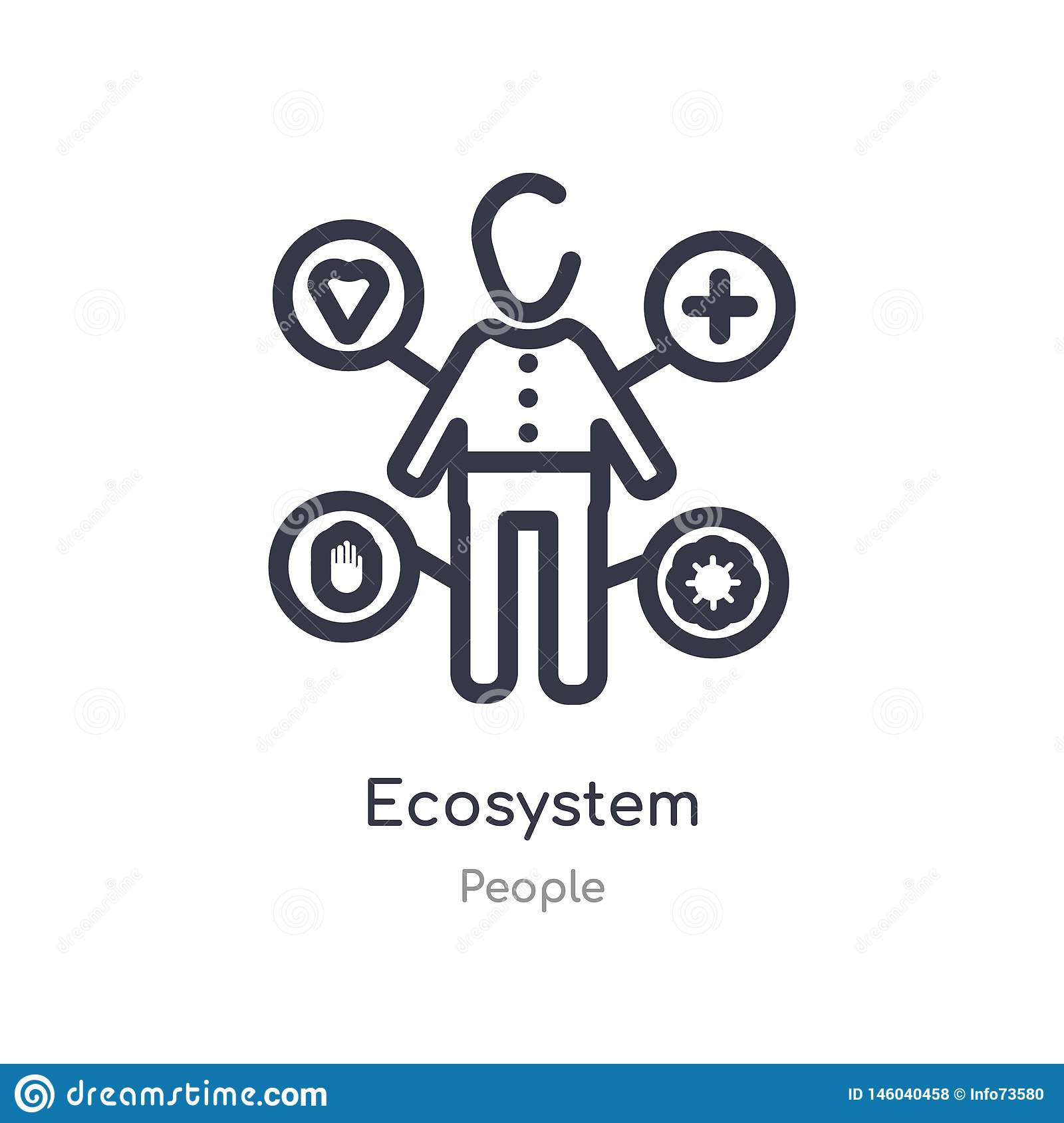 ecosystem outline icon. isolated line vector illustration from people collection. editable thin stroke ecosystem icon on white