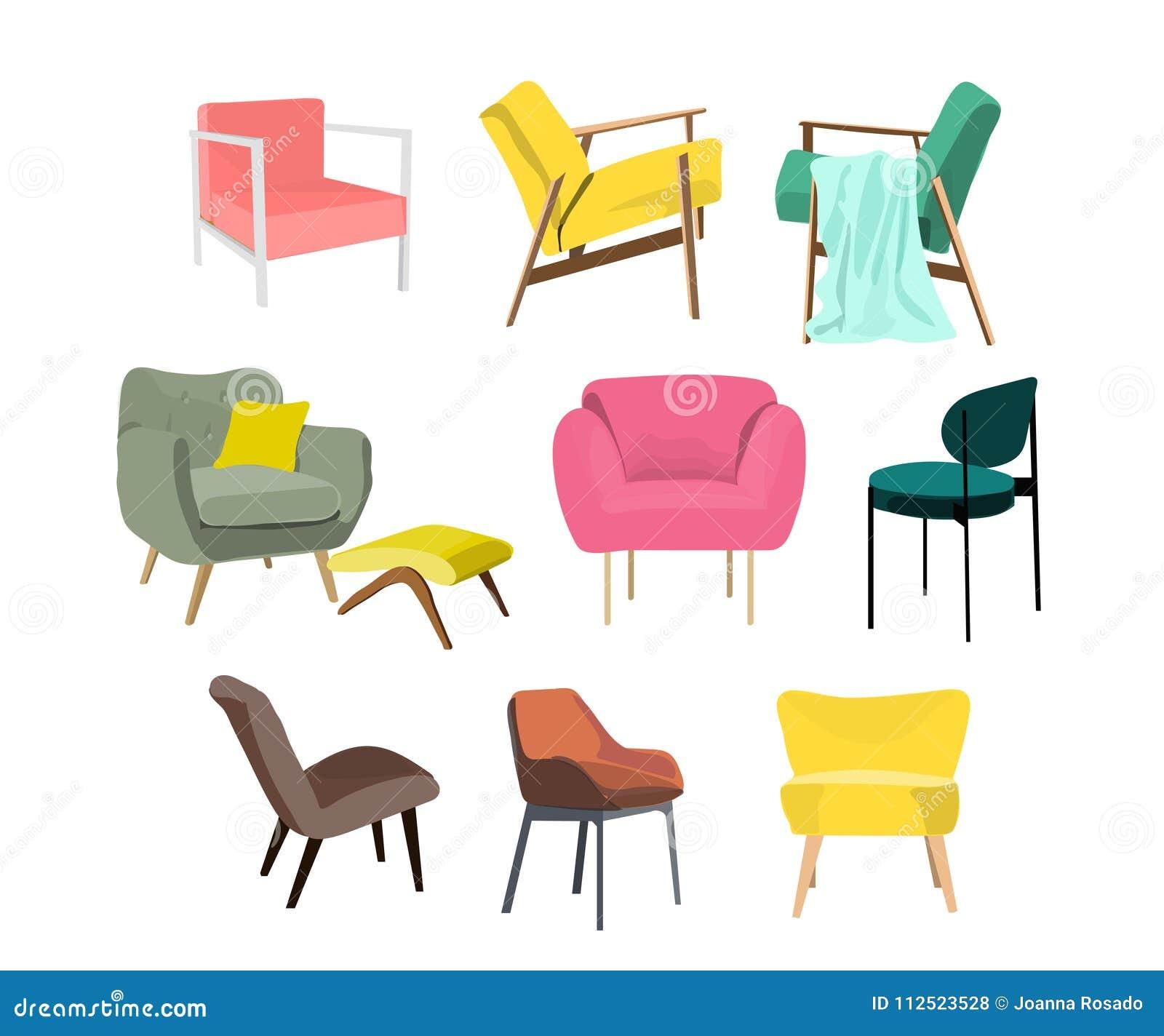 Ector Chair Collection Illustration. Furniture Element Set. Modern ...