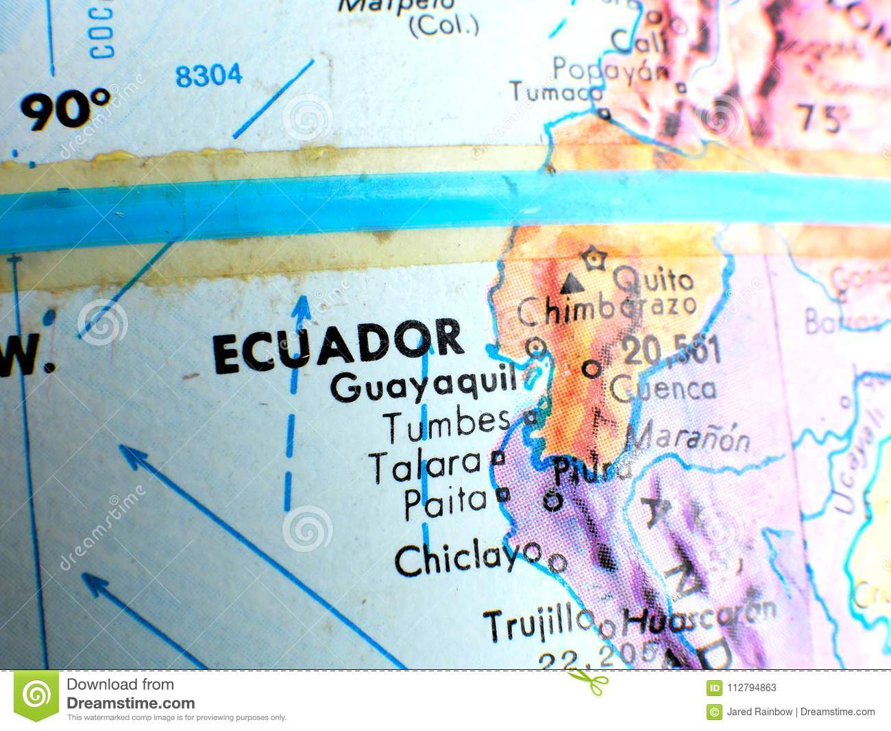 Ecuador equator focus macro shot on globe map for travel blogs download comp gumiabroncs Image collections