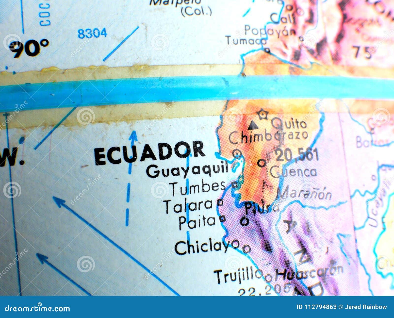 Ecuador Equator Focus Macro Shot On Globe Map For Travel Blogs ...