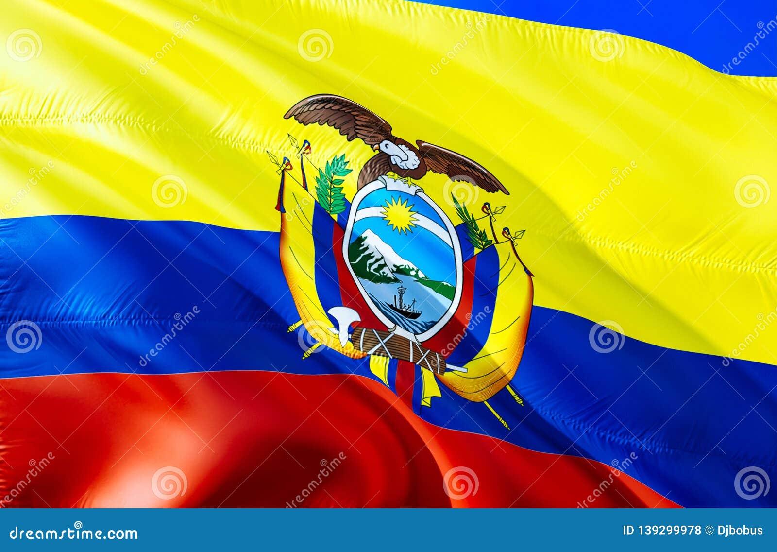 Ecuador flagga vinkande design för flagga 3D Det nationella symbolet av Ecuador, tolkning 3D Nationella färger och medborgareSyda