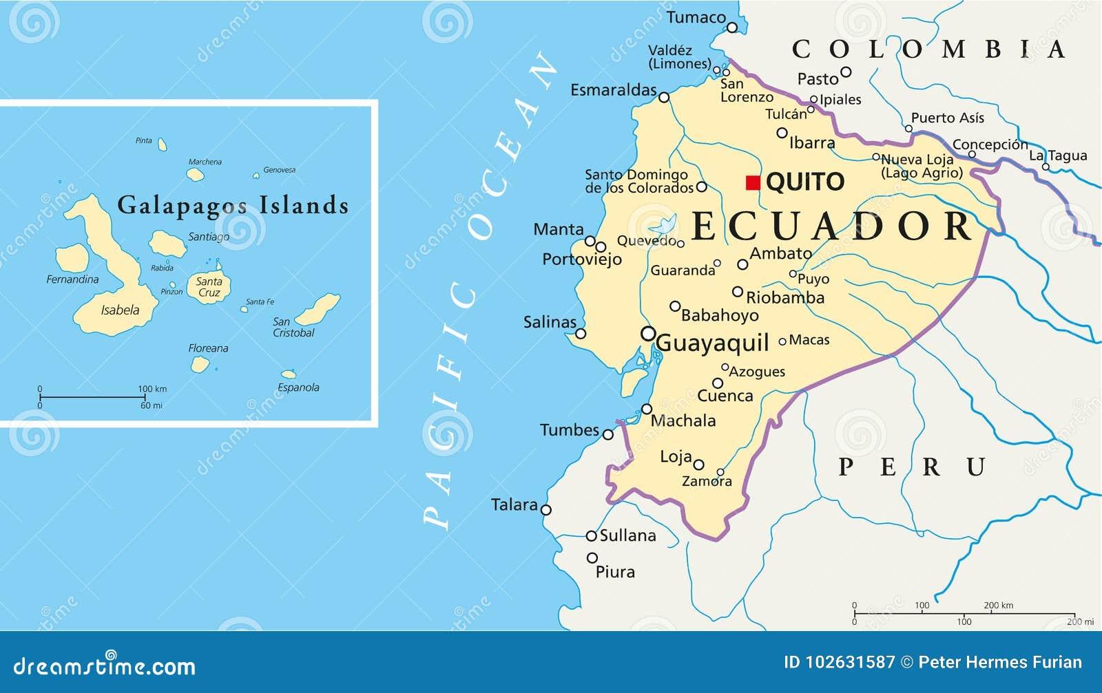 Ecuador And Galapagos Islands Political Map Stock Vector ...