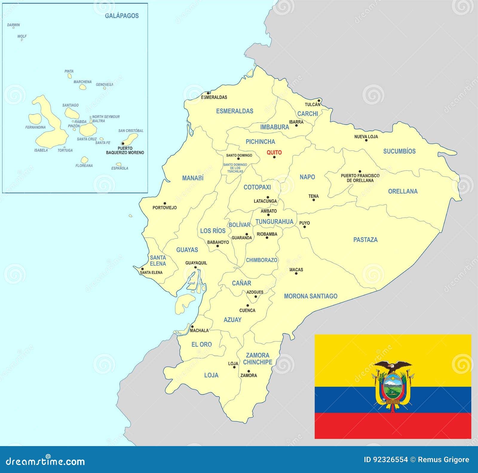 Ecuador Karte Vektor Abbildung Illustration Von Stadte 92326554