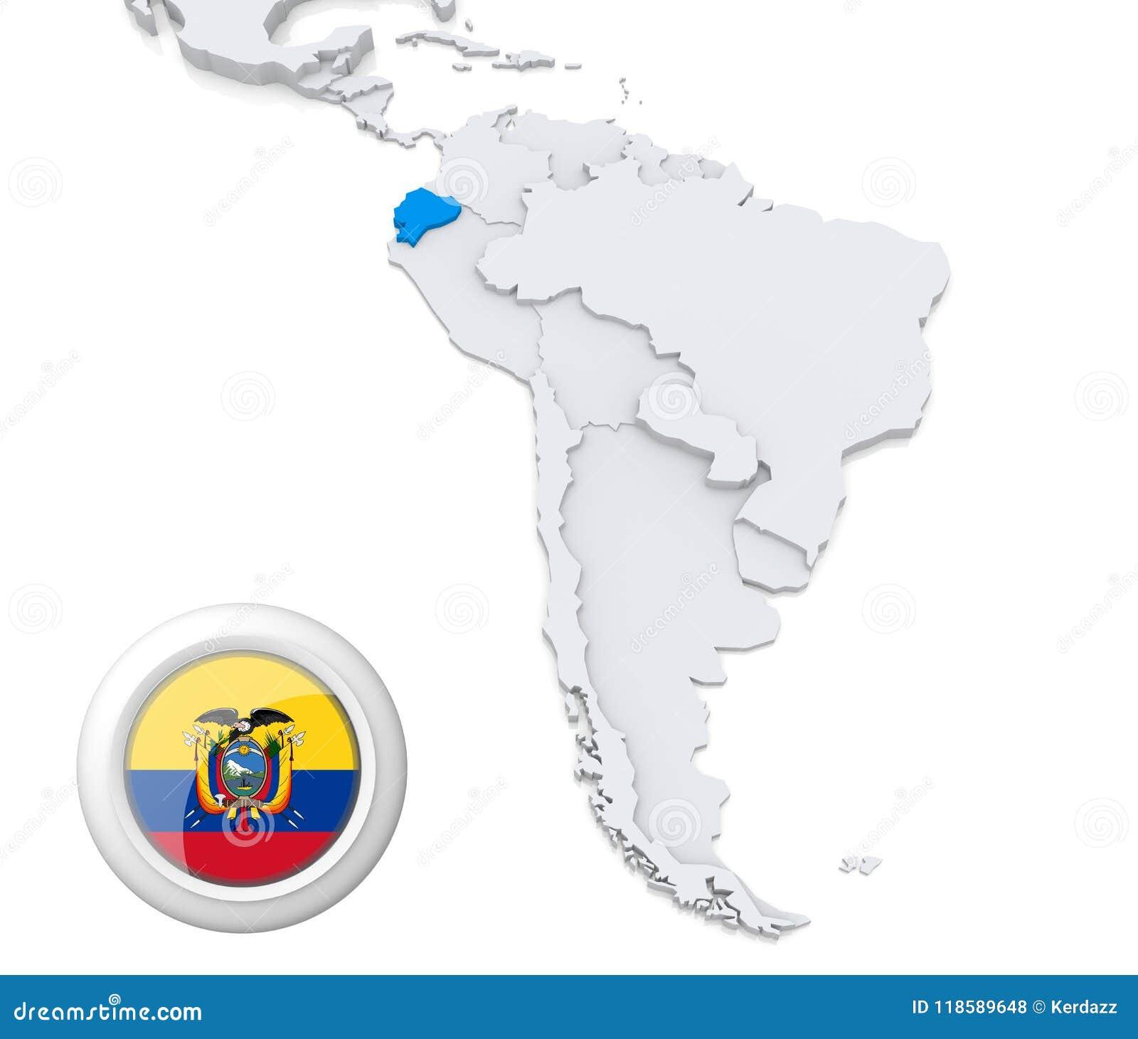 South America Map Ecuador.Ecuador On A Map Of South America Stock Illustration Illustration