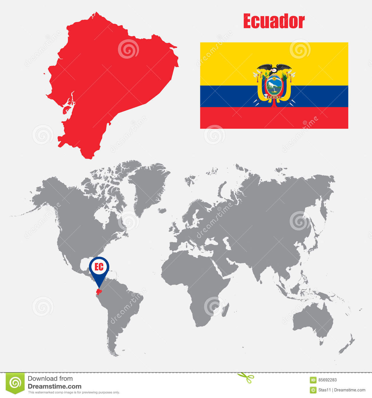 Location Of Ecuador On World Map.Ecuador Map On A World Map With Flag And Map Pointer Vector