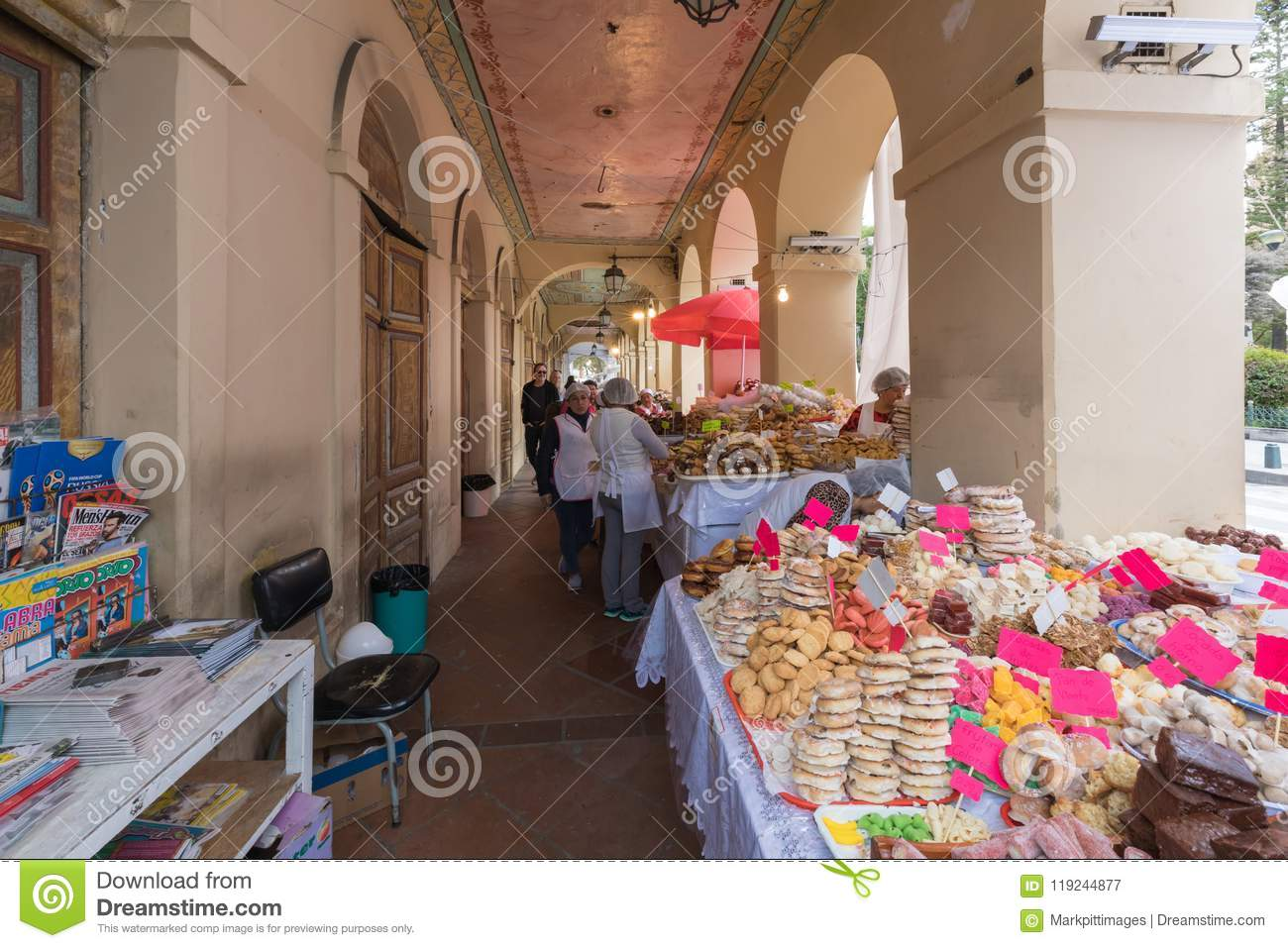 Pastries for sale under the arcades of Calderon square