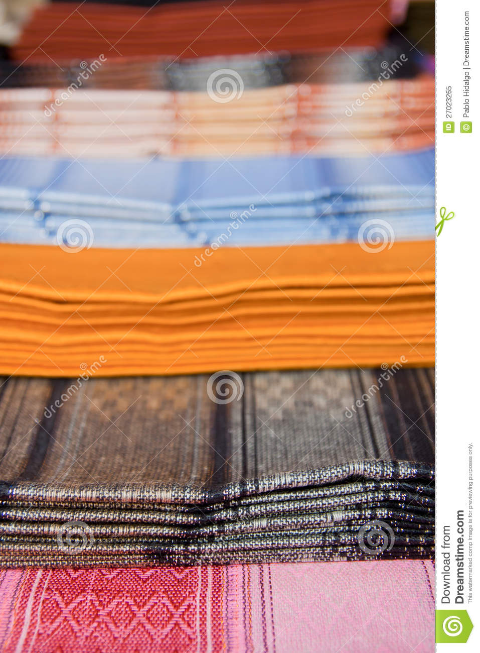 Ecuadorian Blankets For Sale In Otavalo Market Royalty Free Stock
