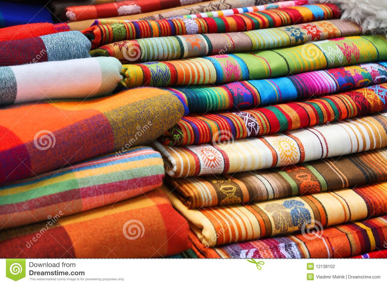 Ecuadorian Peruvian Traditional Fabrics Stock Photo
