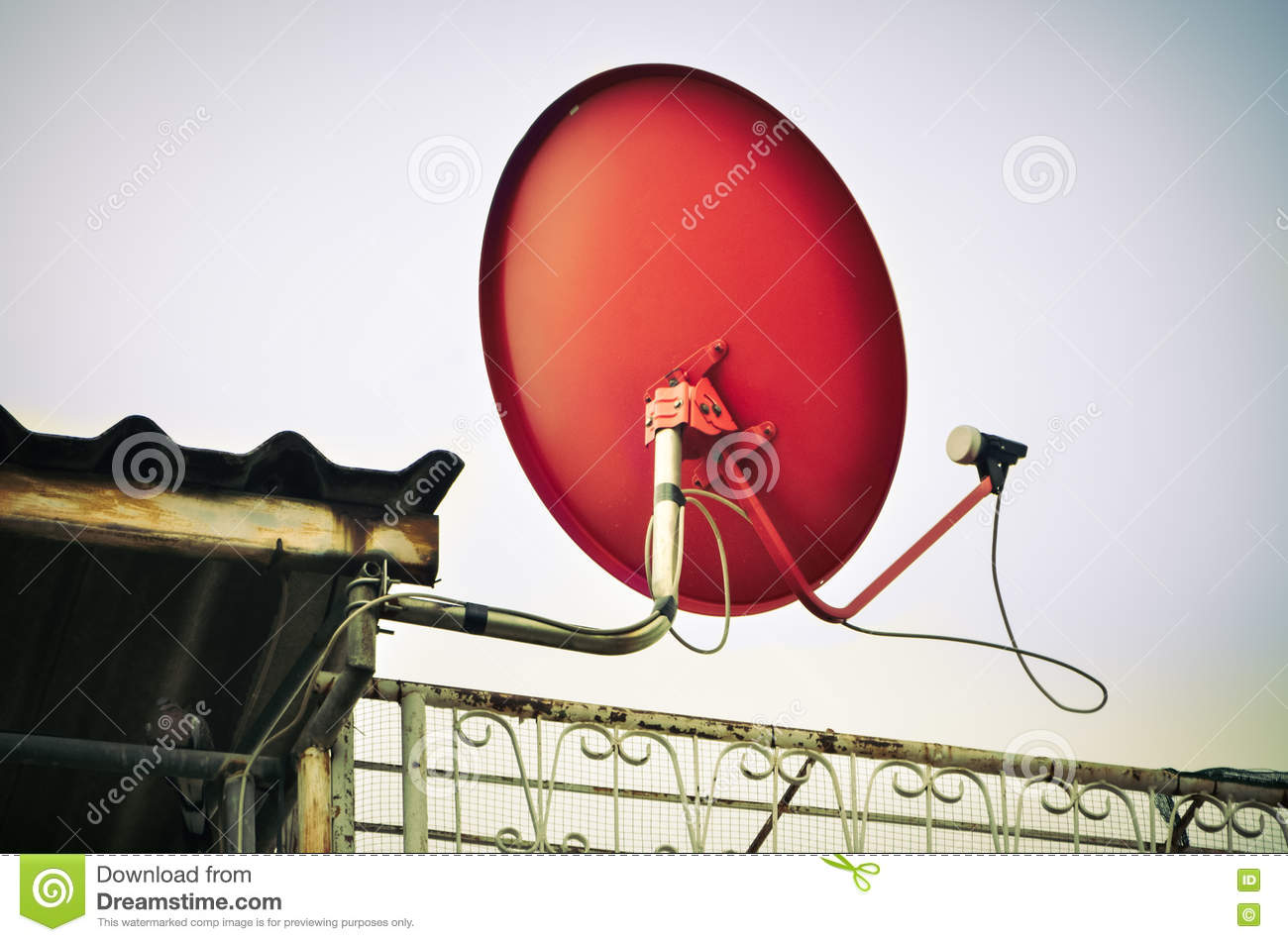 Download Ed Dish Satellite Receiver With Blue Sky Stock Image - Image of signal, equipment: 72241889