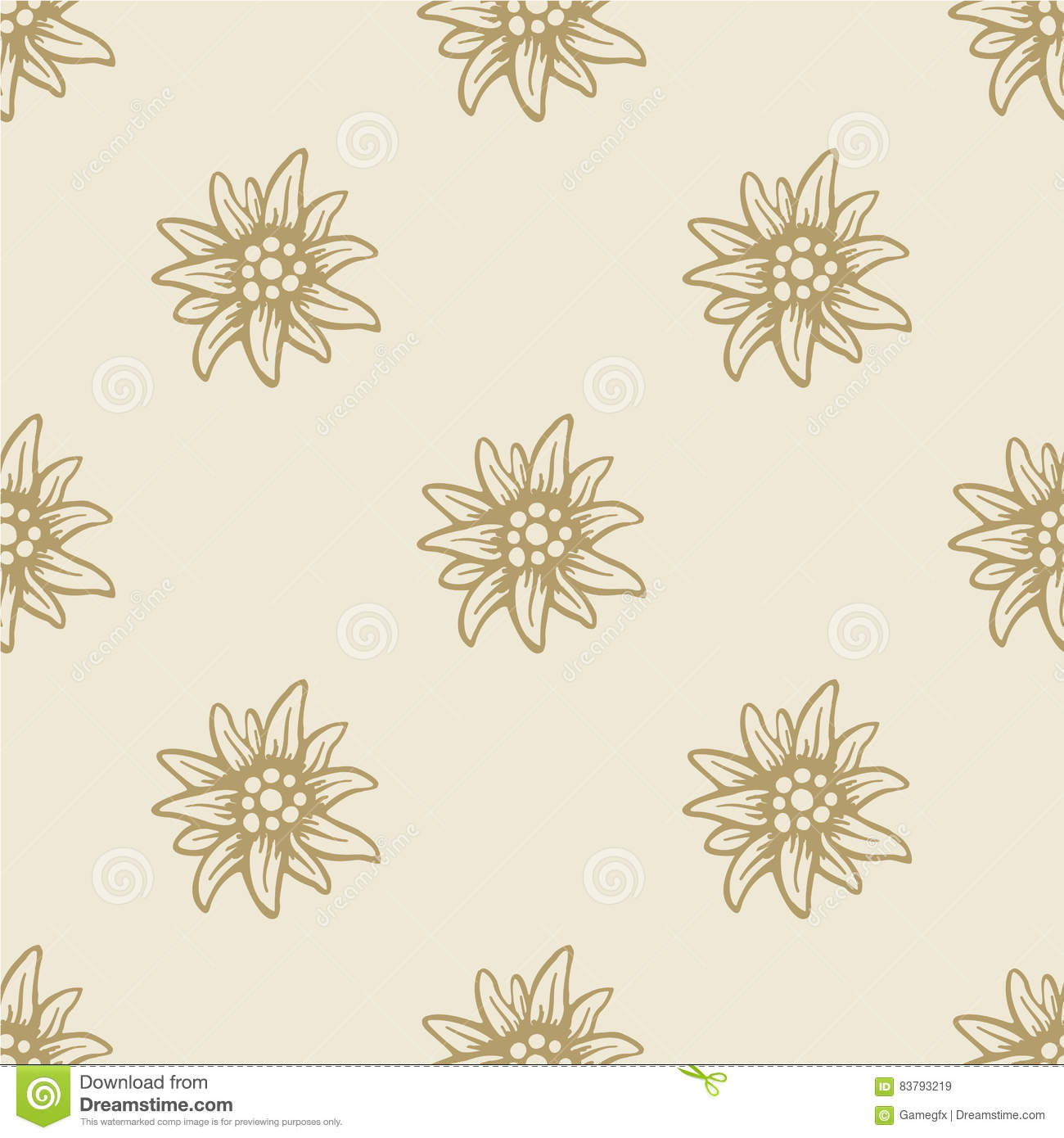 Edelweiss Flower Seamless Pattern Background Texture Stock