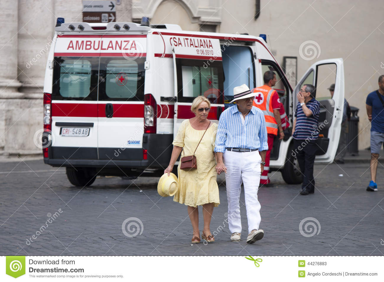 Ederly couple move away from ambulance