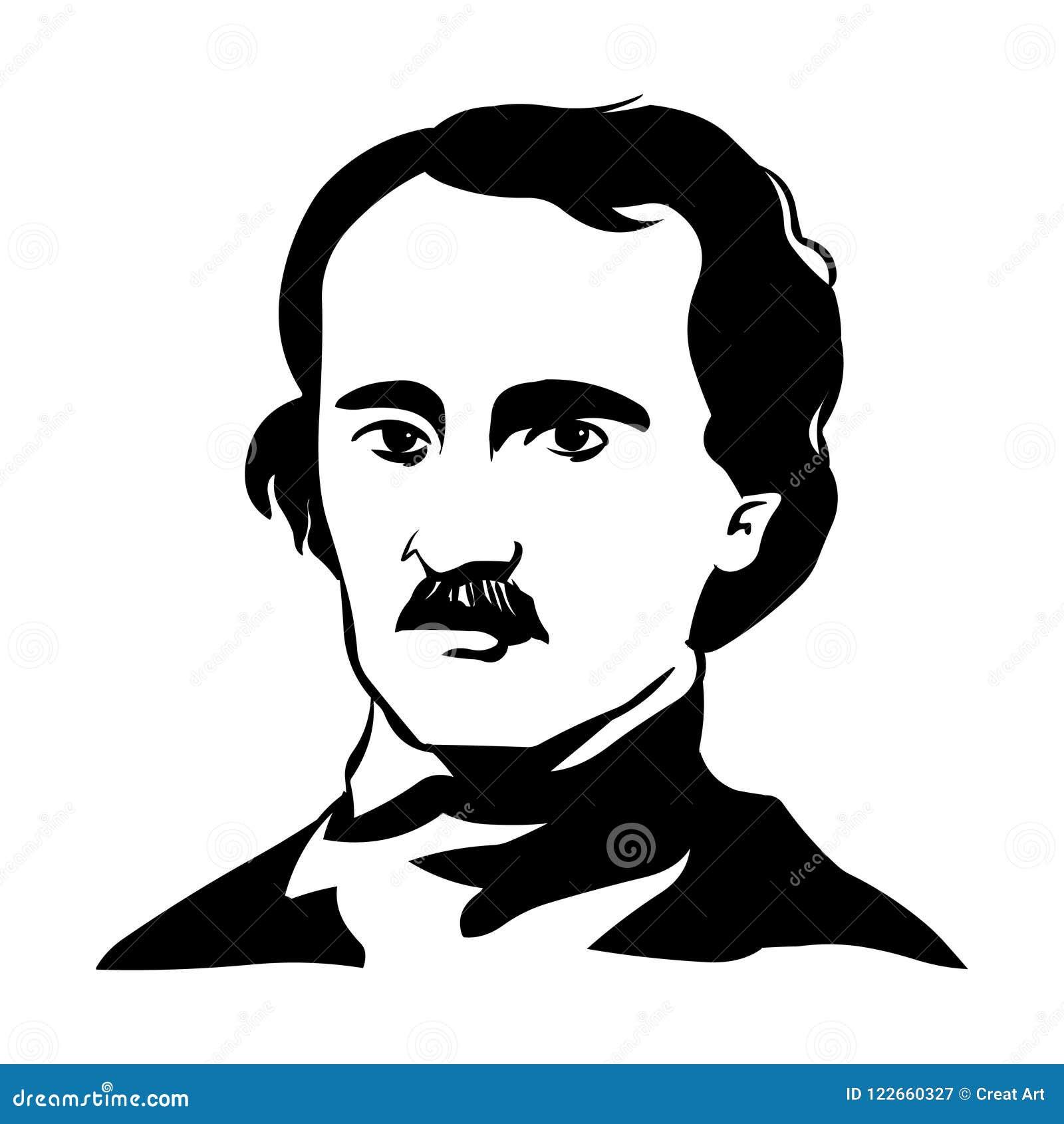 Edgar Allan Poe Vector Portrait Of Edgar Allan Poe  Stock