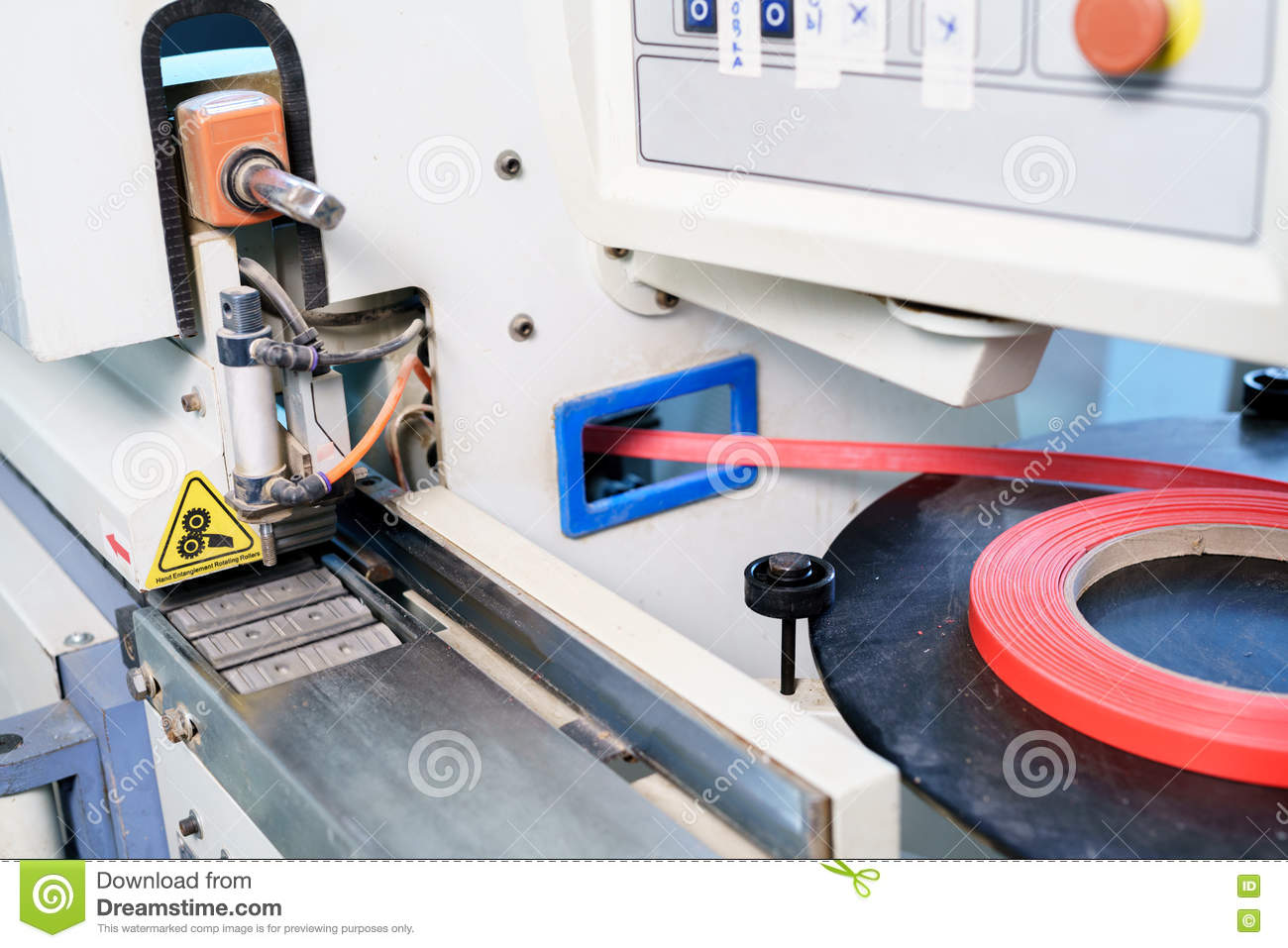 Edge Banding Machine In Production Of Furniture Stock Image